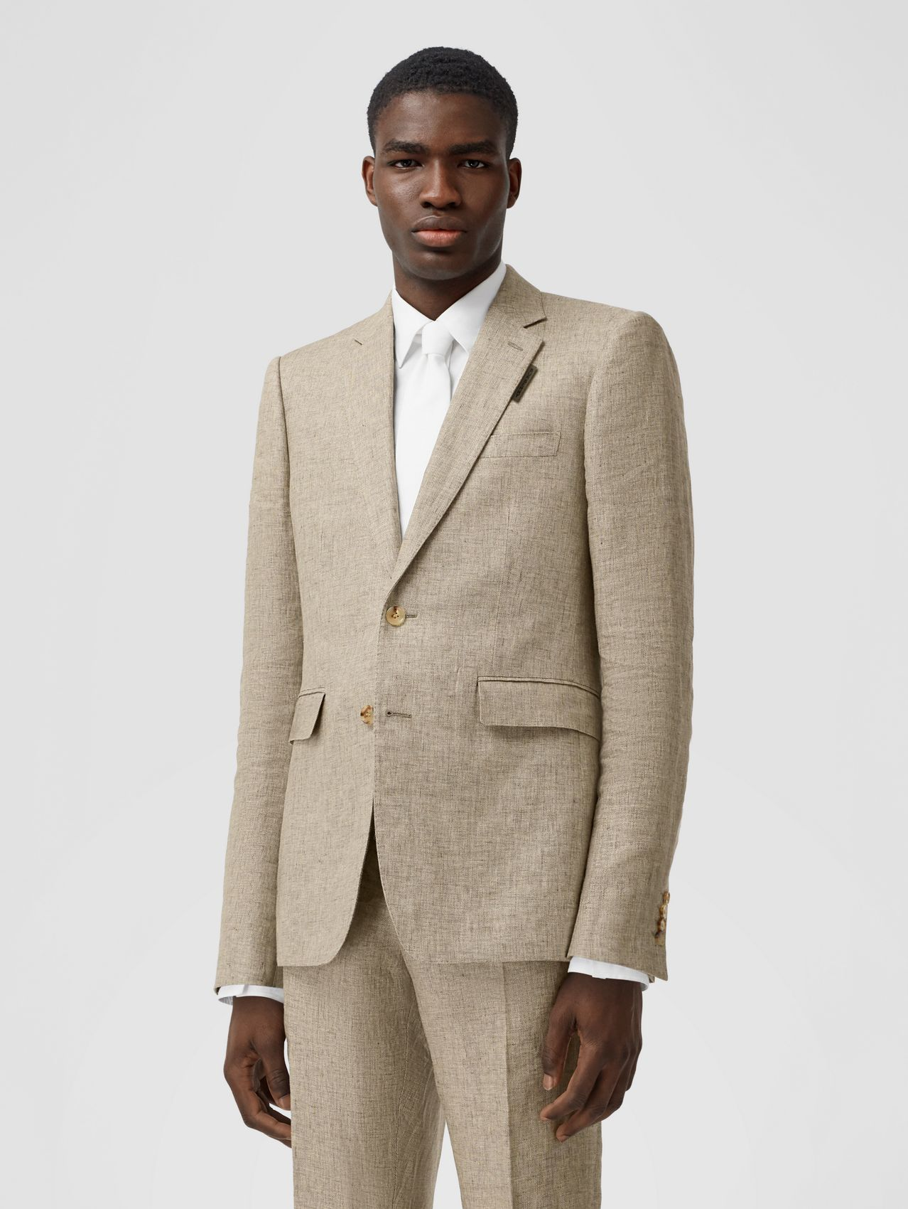 Classic Fit Linen Tailored Jacket in Cedar Brown Melange