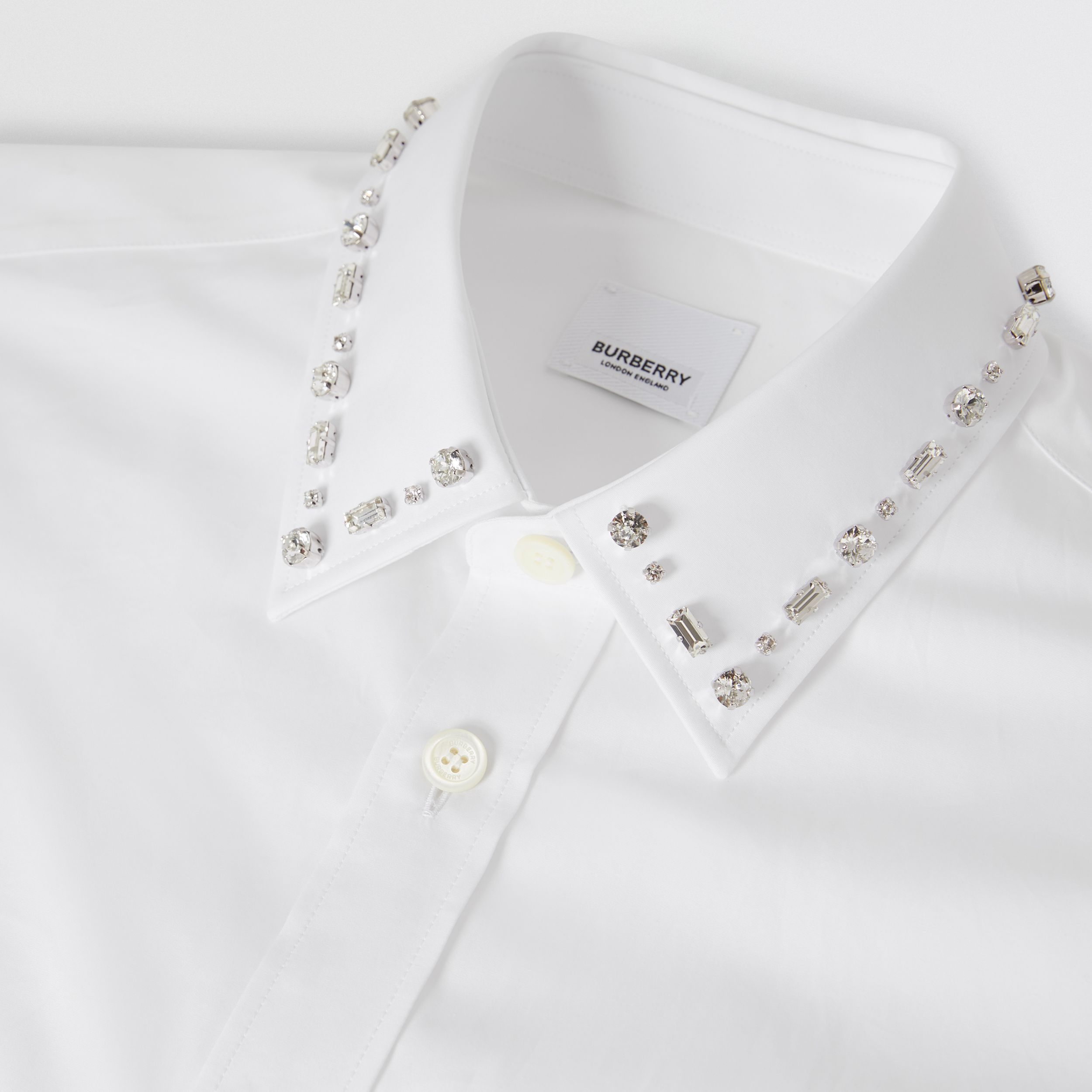 Classic Fit Embellished Cotton Poplin Dress Shirt in White - Men | Burberry Hong Kong S.A.R. - 2