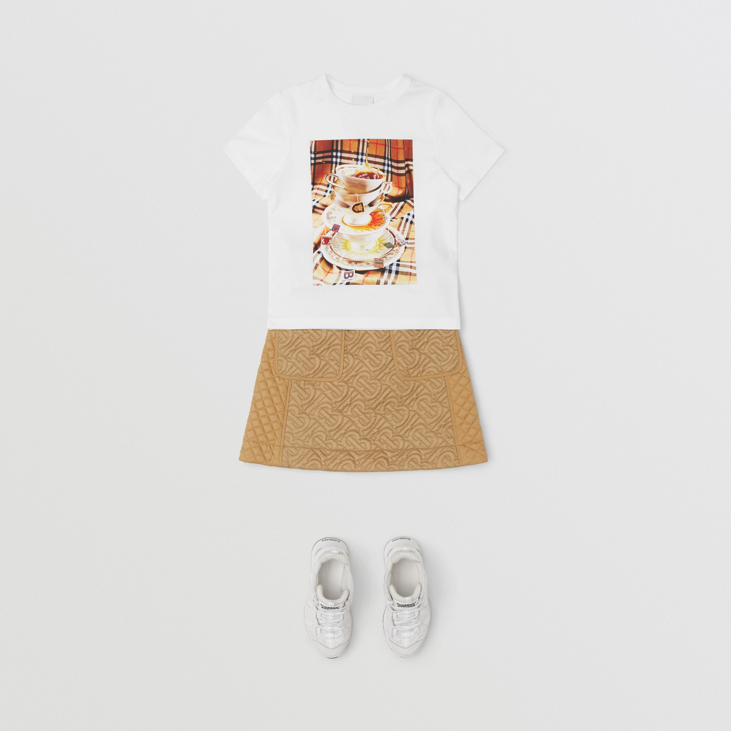 Teacup Print T-shirt in Multicolour | Burberry - 3
