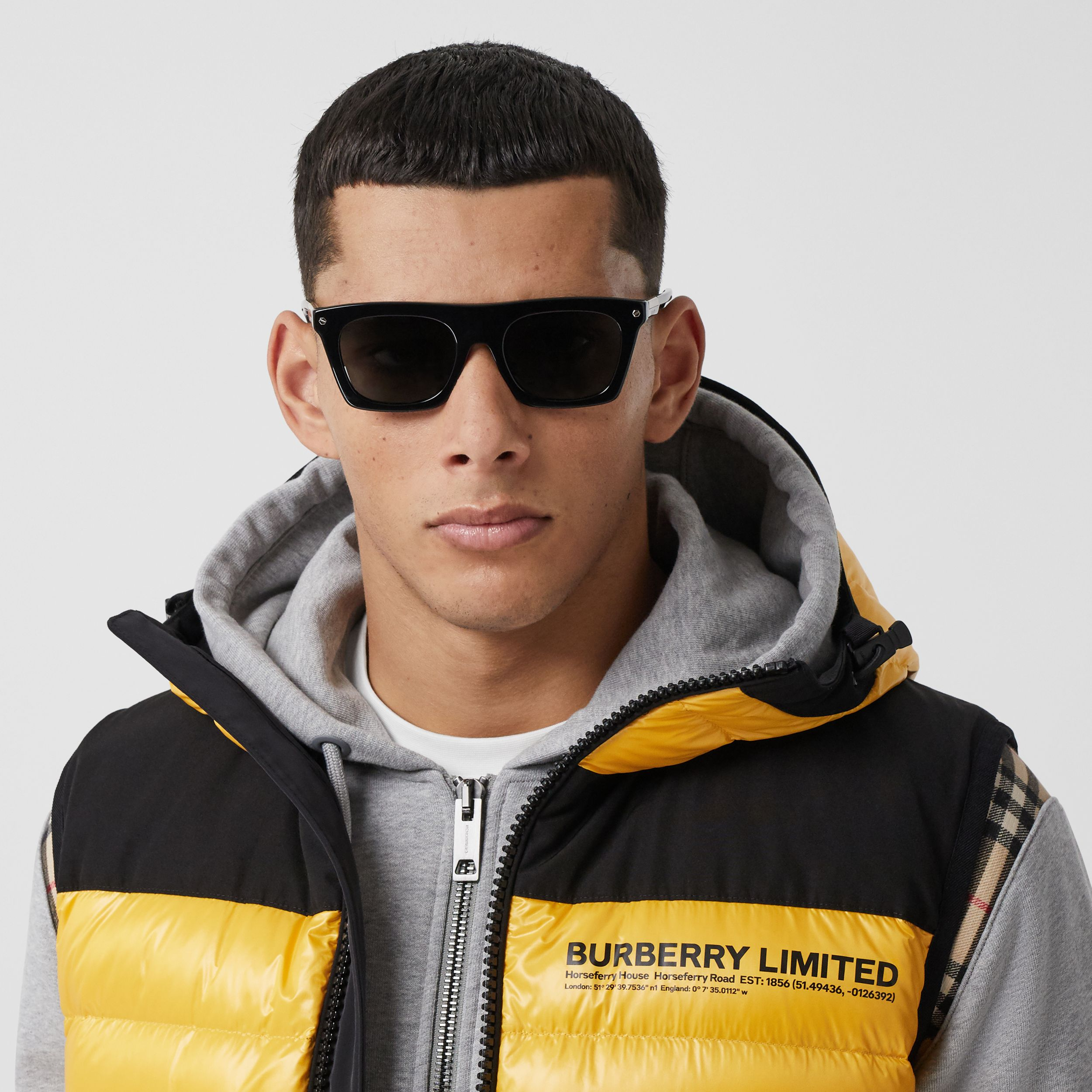 Hooded Location Print Puffer Gilet in Bright Yellow - Men | Burberry - 2