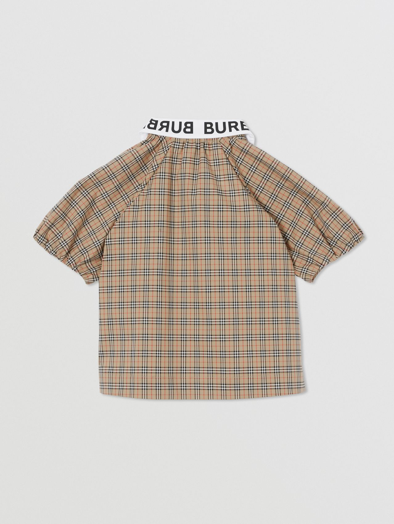 Logo Print Puff-sleeve Check Stretch Cotton Blouse in Archive Beige