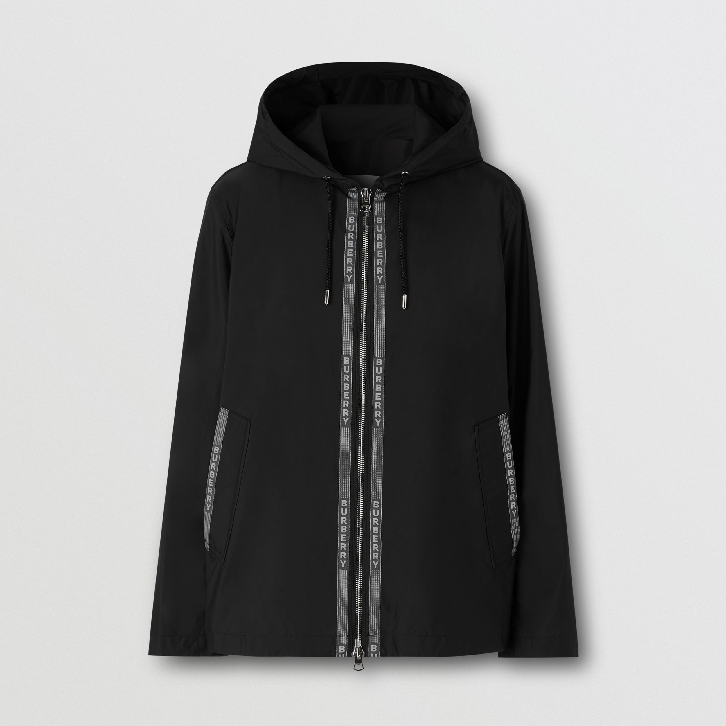 Logo Nylon Jacquard Hooded Jacket in Black/white - Men | Burberry - 4