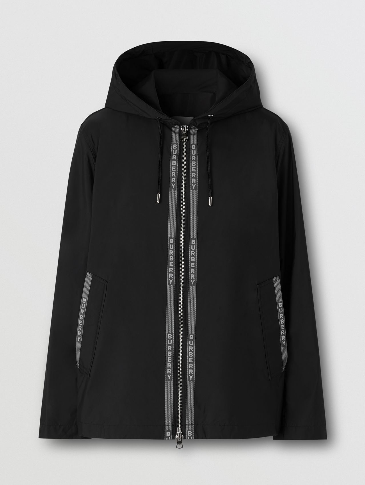 Logo Nylon Jacquard Hooded Jacket in Black/white