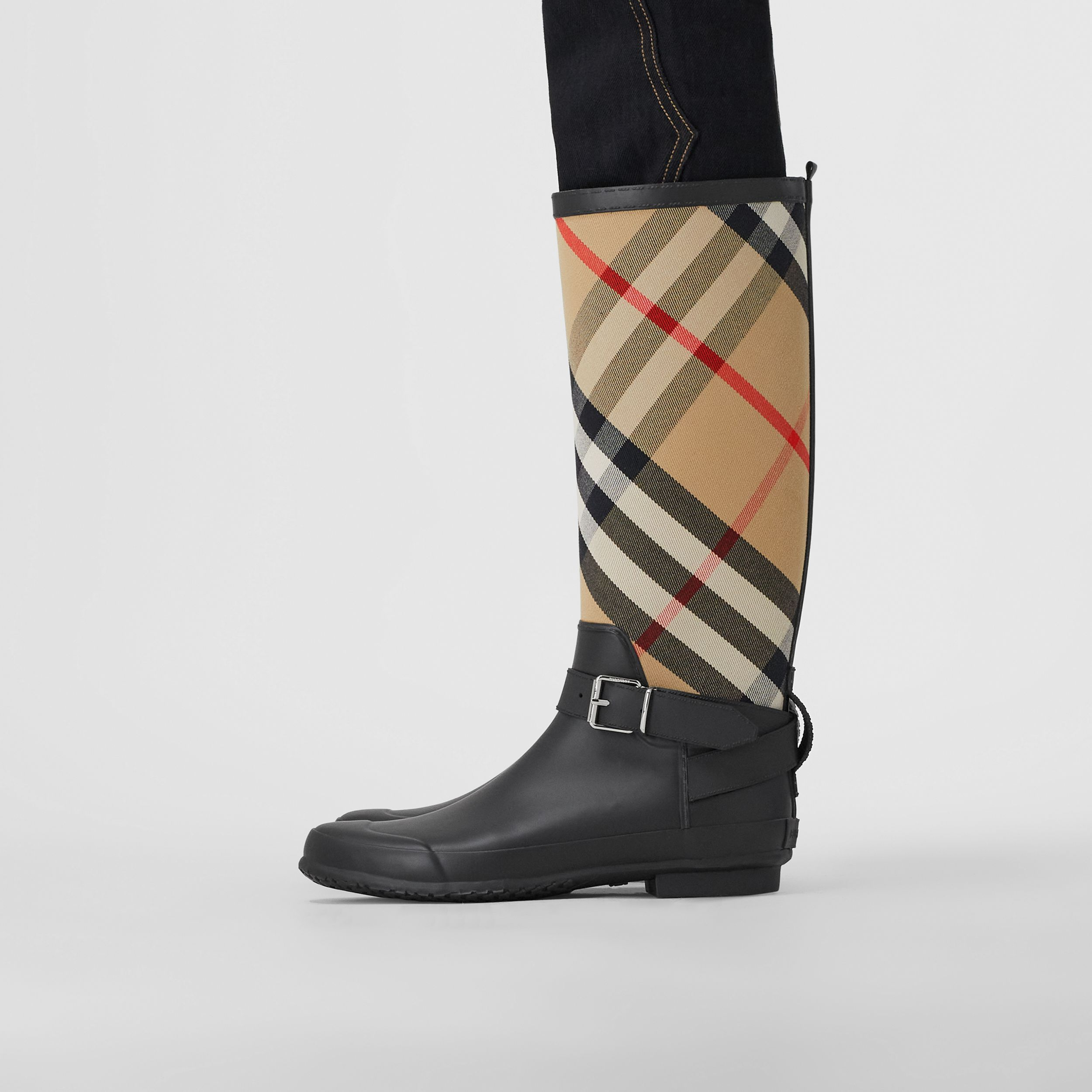 Strap Detail House Check and Rubber Rain Boots in Black/archive Beige - Women | Burberry - 3