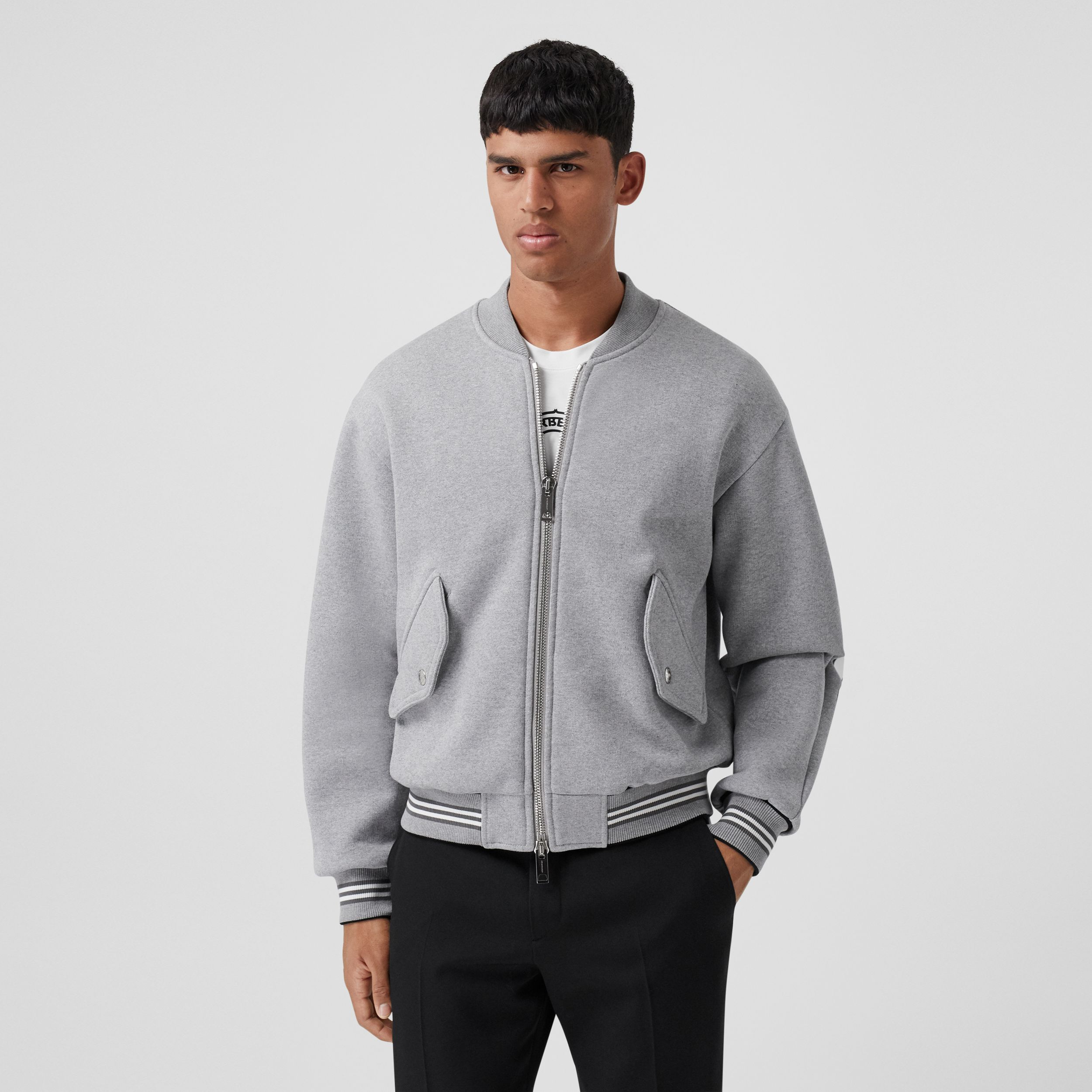 Icon Stripe Trim Jersey Bomber Jacket in Grey Melange - Men | Burberry Singapore - 3