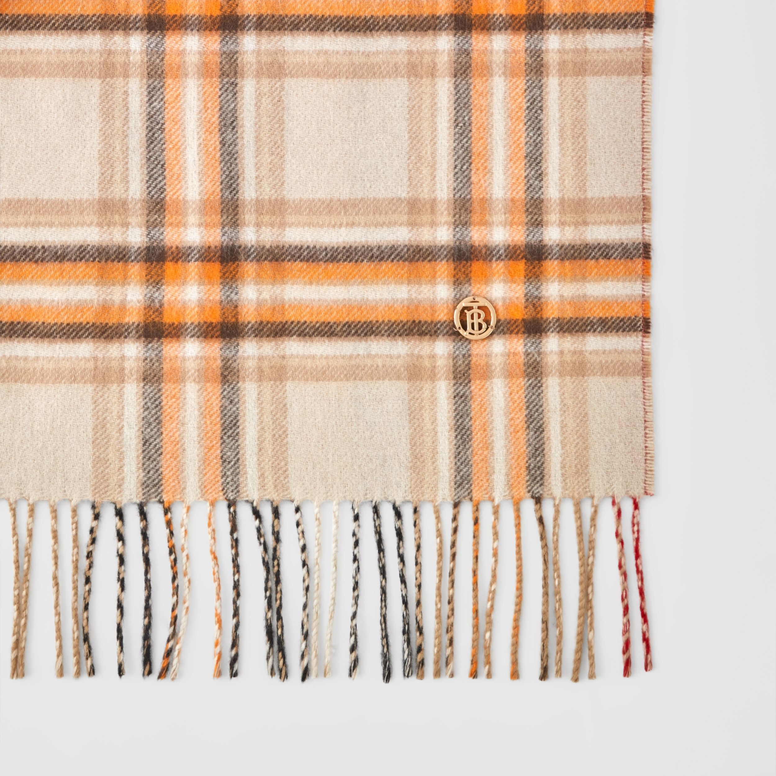 Reversible Check and Icon Stripe Cashmere Scarf in Beige | Burberry United Kingdom - 2