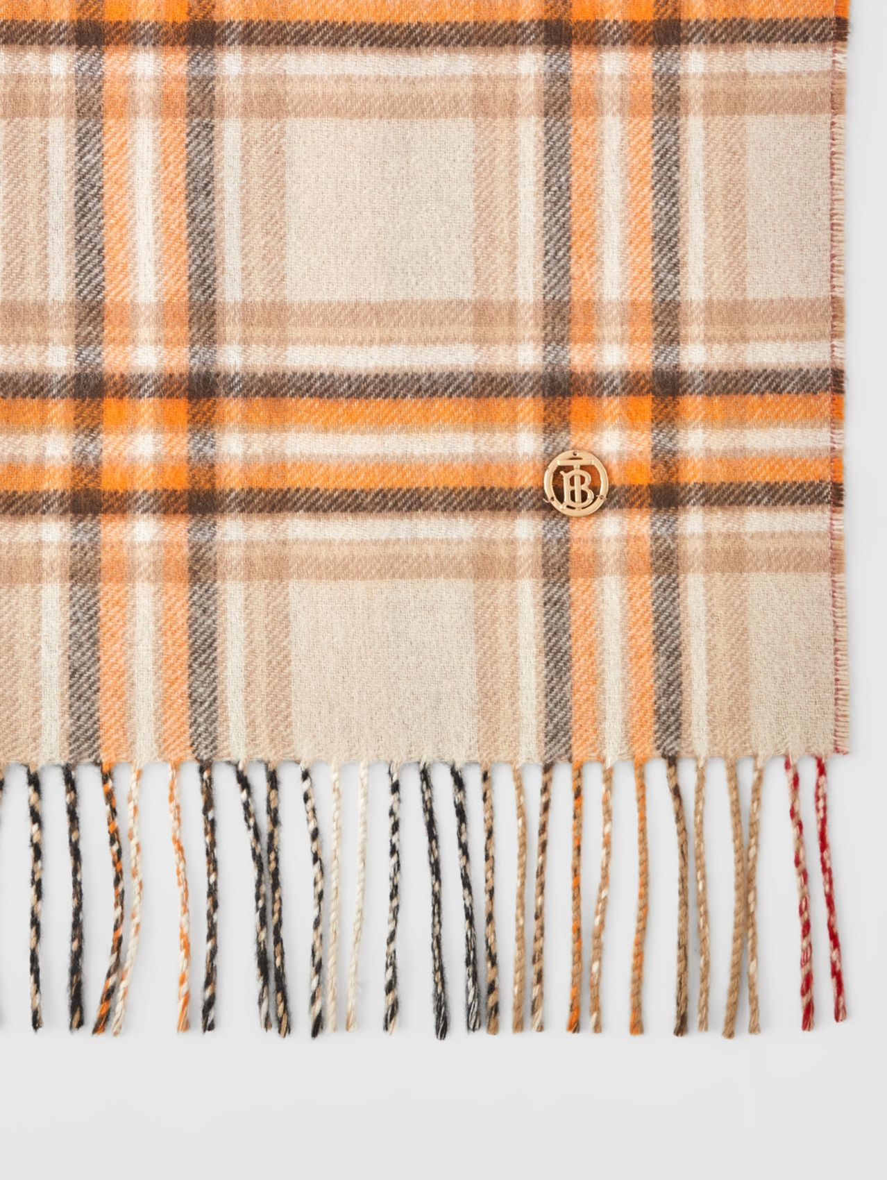 Reversible Check and Icon Stripe Cashmere Scarf in Beige