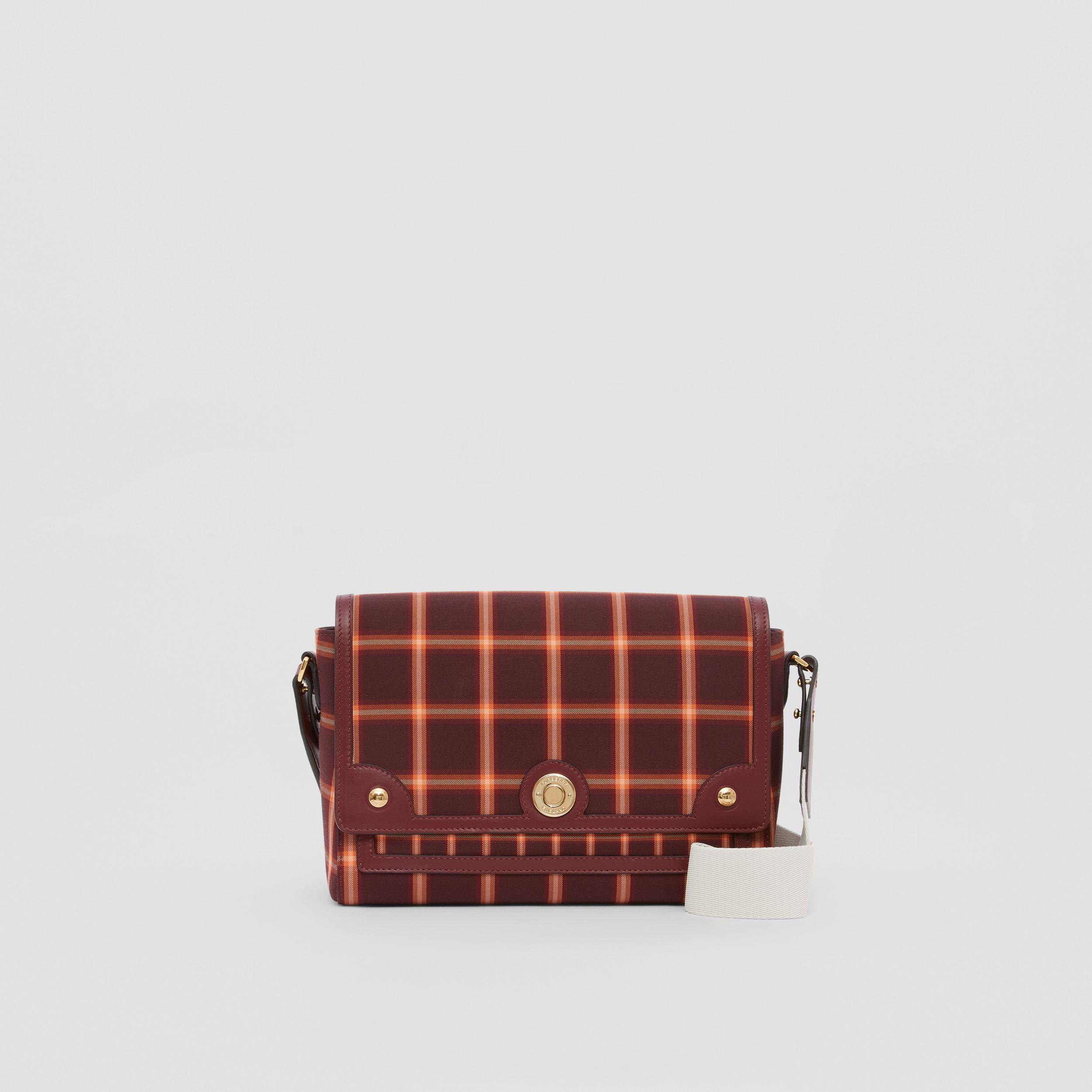 Tartan Technical Cotton Note Crossbody Bag in Burgundy - Women | Burberry - 1