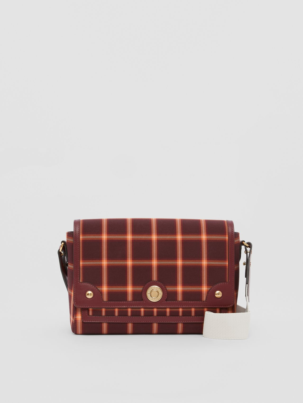 Tartan Technical Cotton Note Crossbody Bag in Burgundy