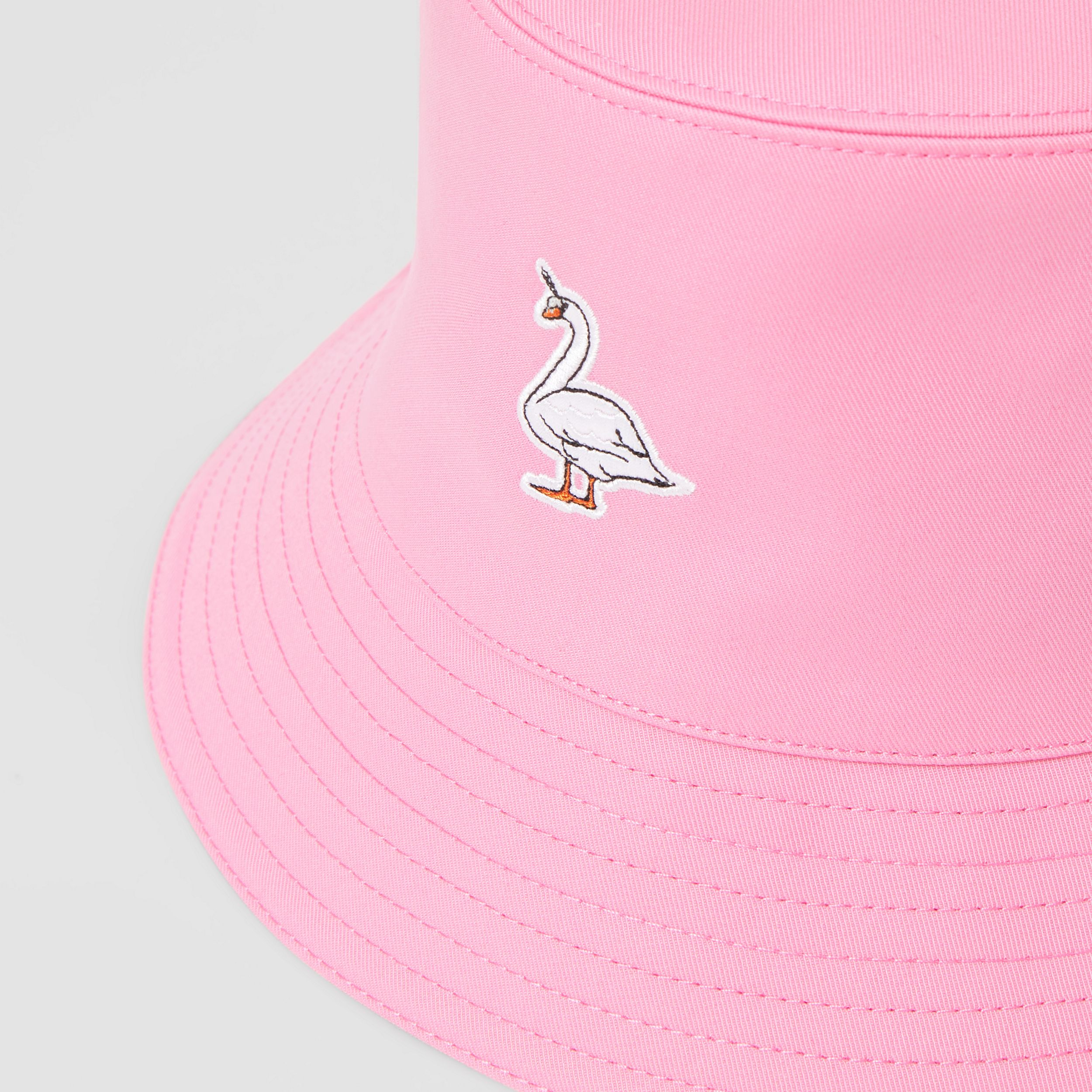 Swan Appliqué Cotton Twill Bucket Hat in Bubblegum Pink | Burberry - 2