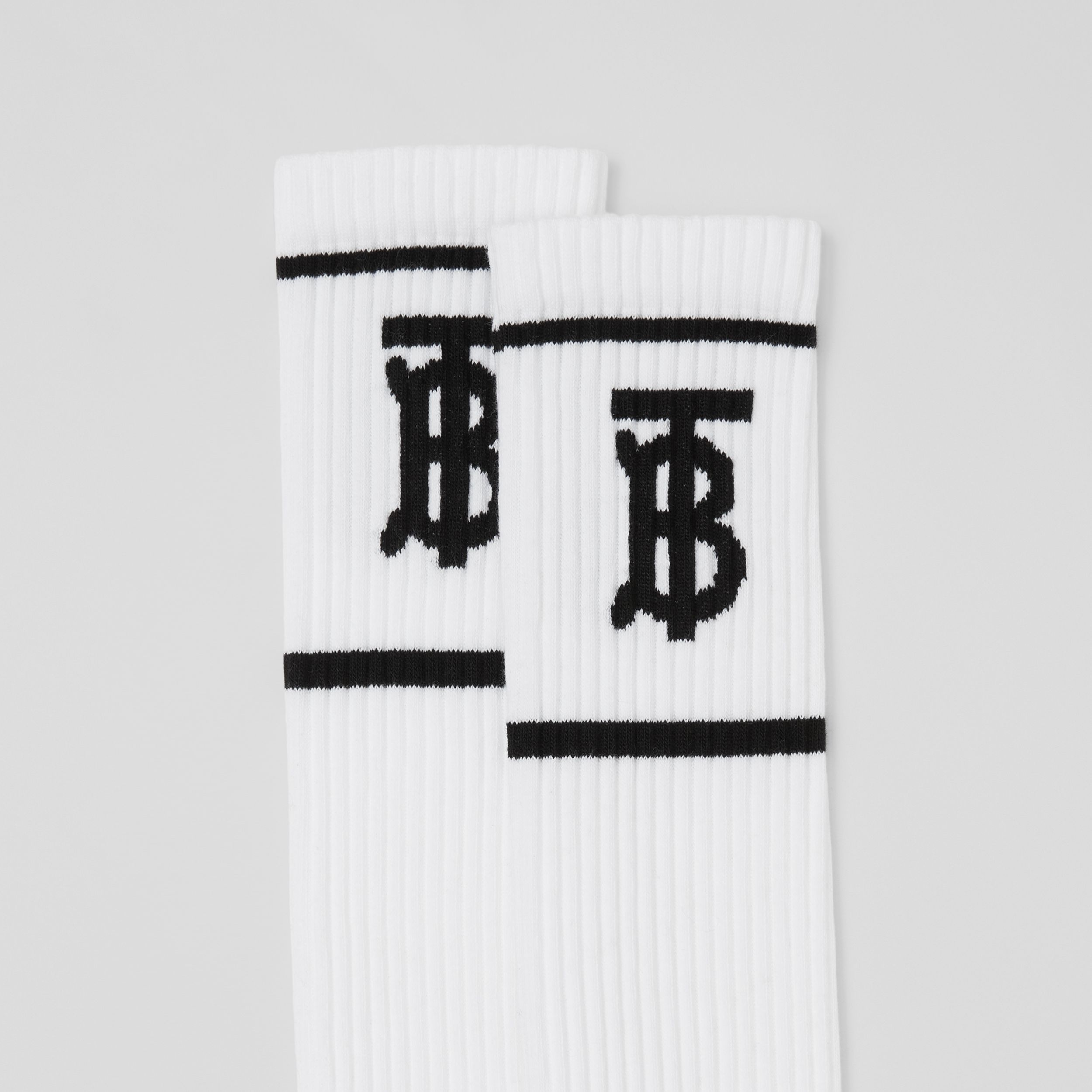 Monogram Intarsia Cotton Blend Knee-length Socks in White | Burberry - 2