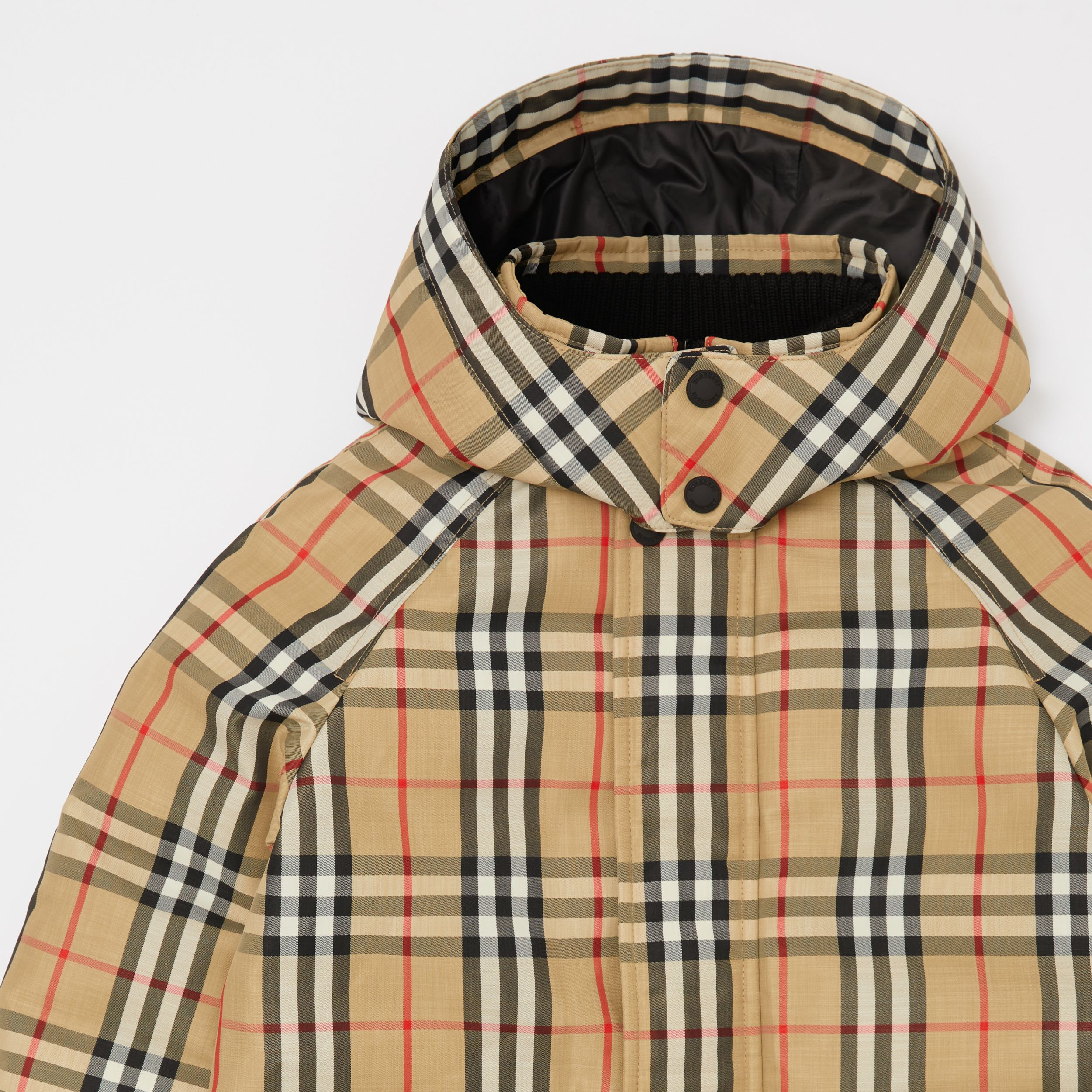 Vintage Check Down-filled Hooded Coat in Archive Beige | Burberry - 2