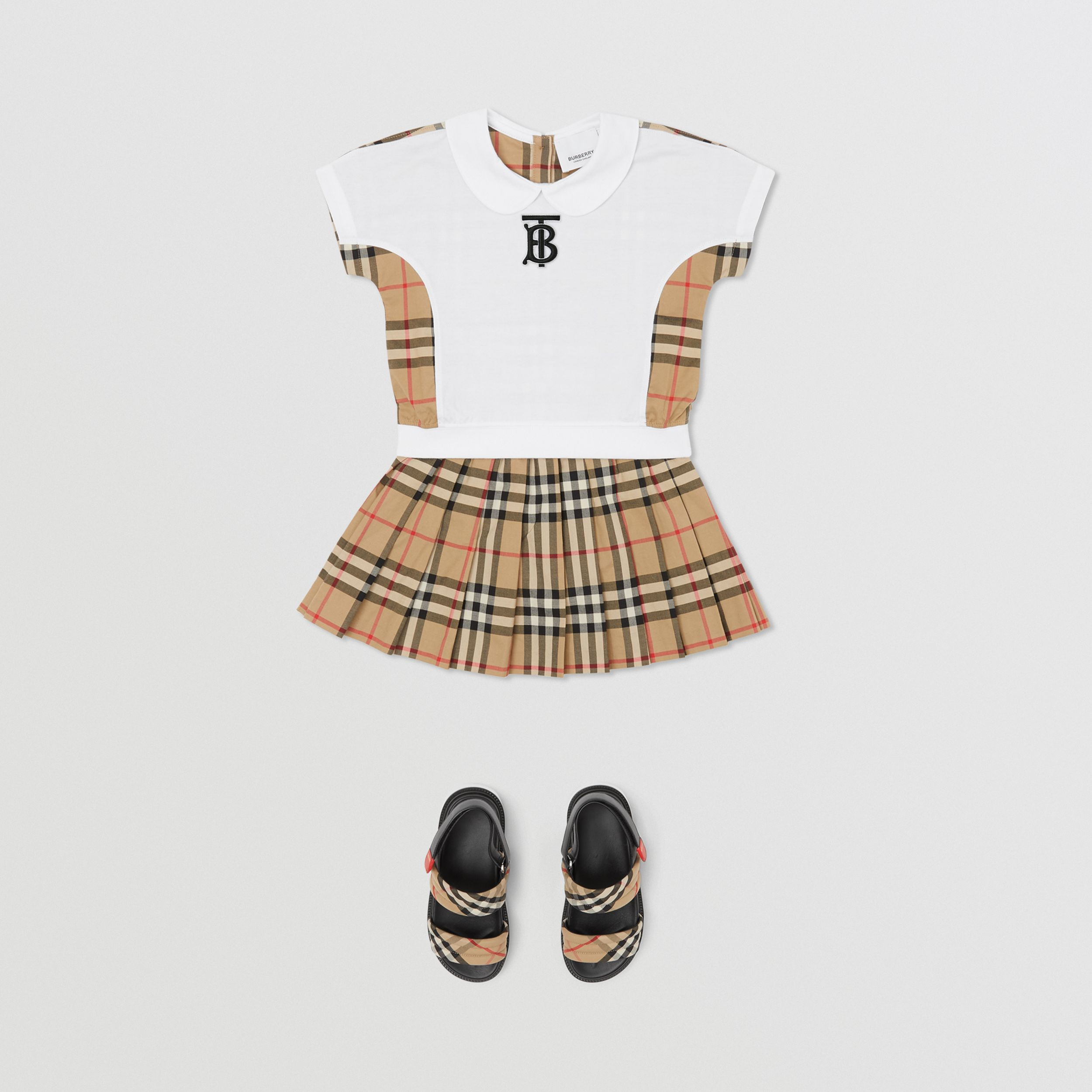 Peter Pan Collar Vintage Check Panel Cotton T-Shirt in Archive Beige - Children | Burberry United Kingdom - 3