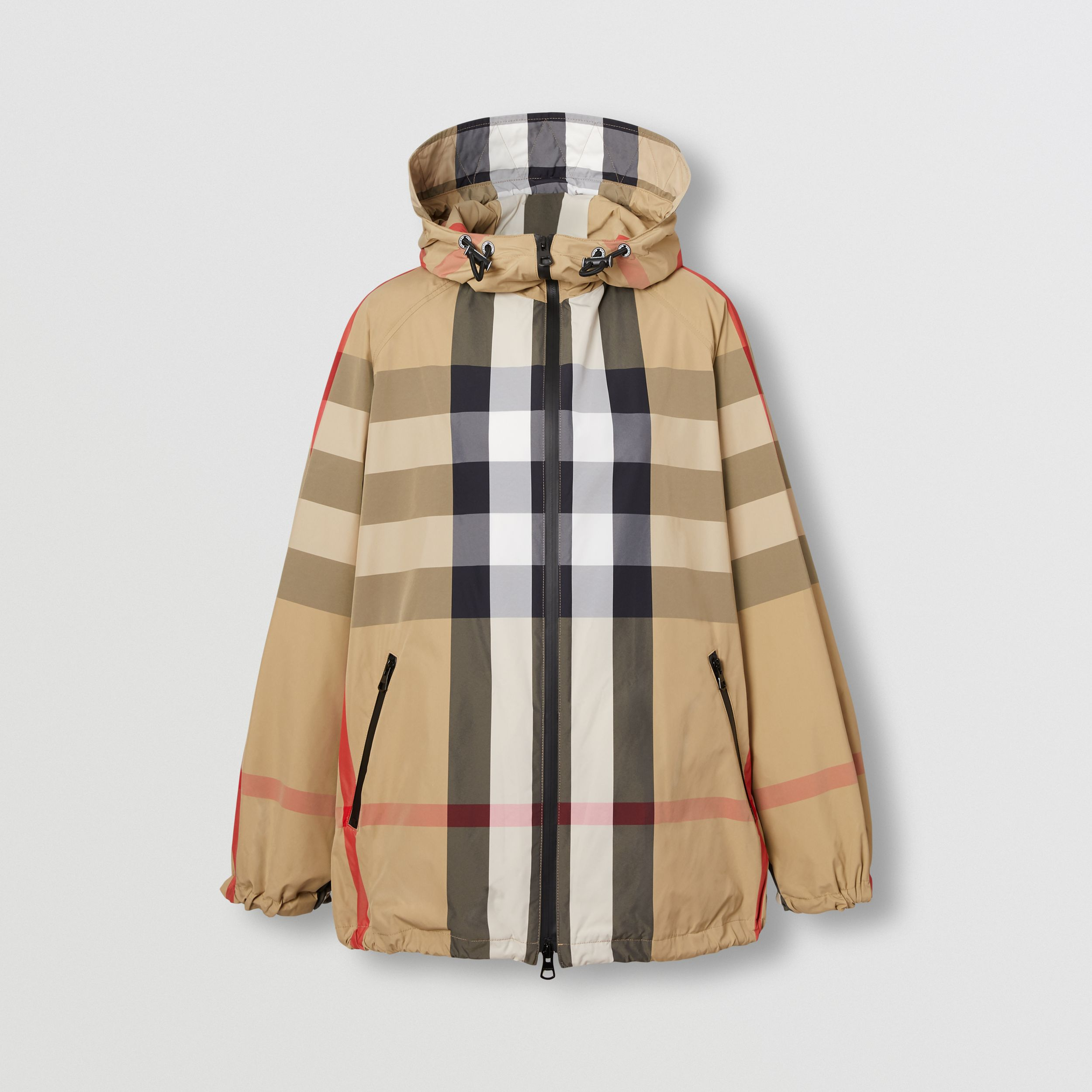 Check Recycled Nylon Hooded Jacket in Archive Beige - Women | Burberry - 4