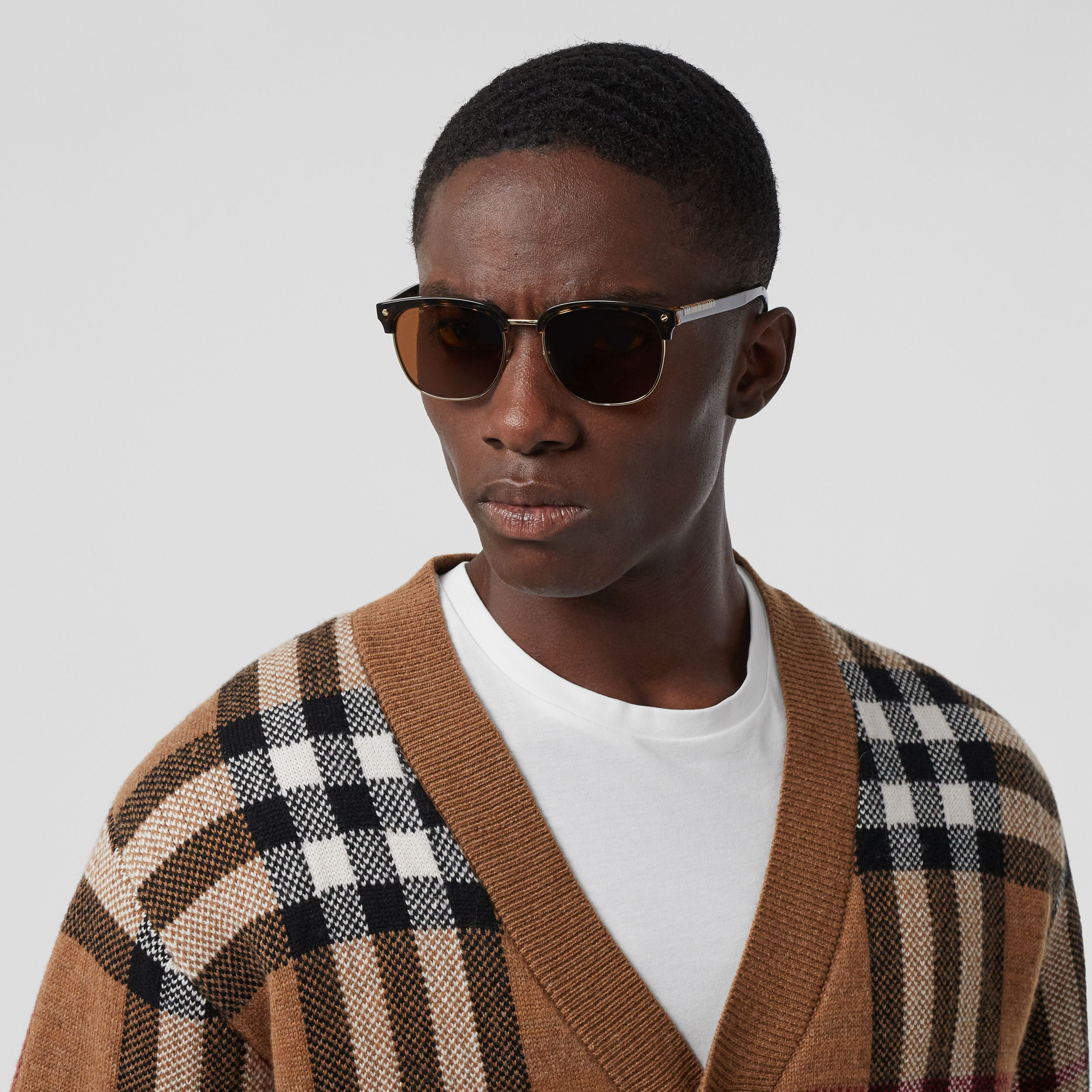 Icon Stripe Detail Square Frame Sunglasses in Tortoiseshell - Men | Burberry - 3