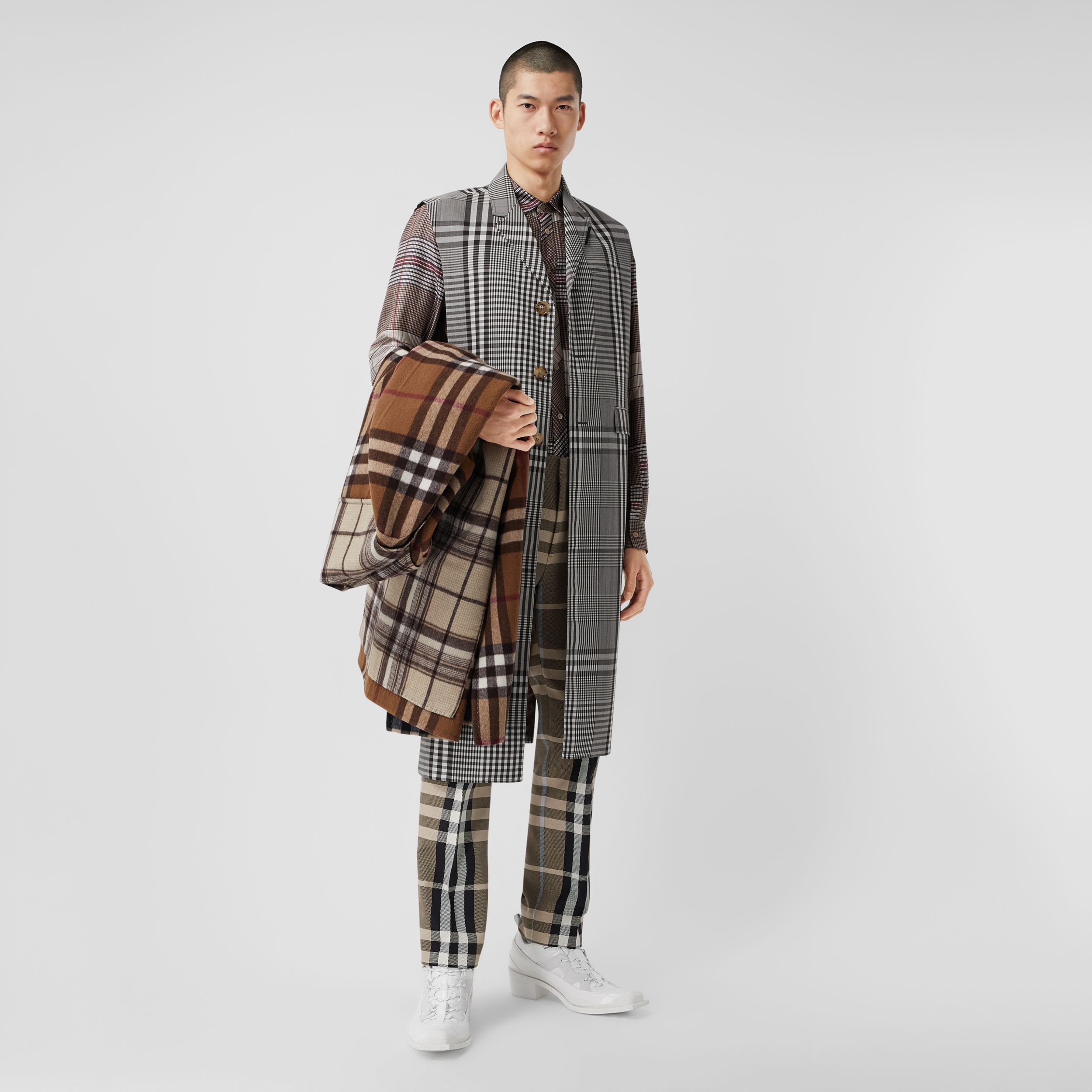 Sleeveless Check Technical Wool Coat in Dark Brown | Burberry - 1