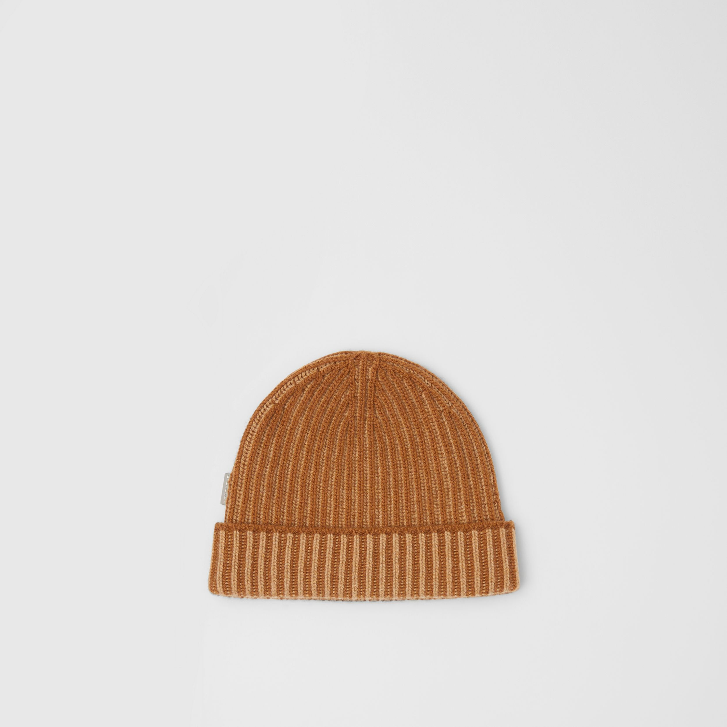 Rib Knit Cashmere Beanie in Camel | Burberry United Kingdom - 1