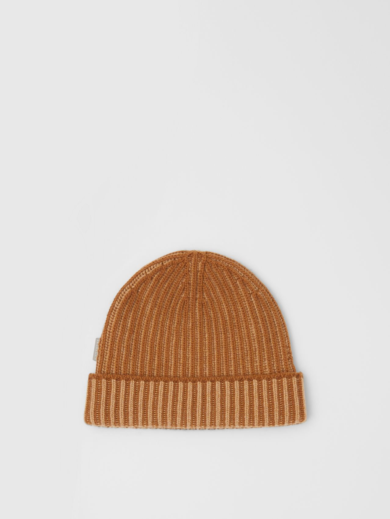 Rib Knit Cashmere Beanie in Camel