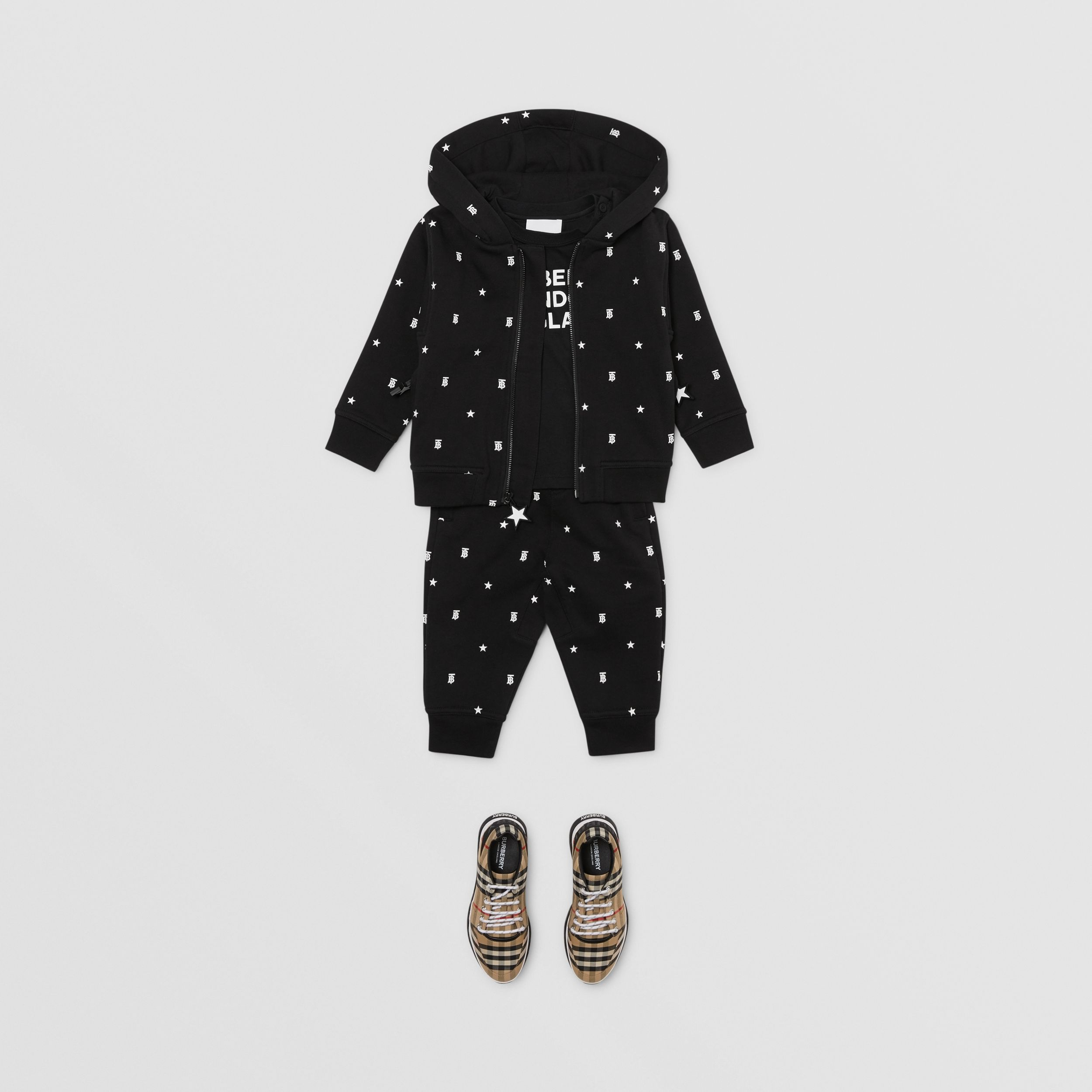 Star and Monogram Motif Cotton Hooded Top in Black - Children | Burberry - 4