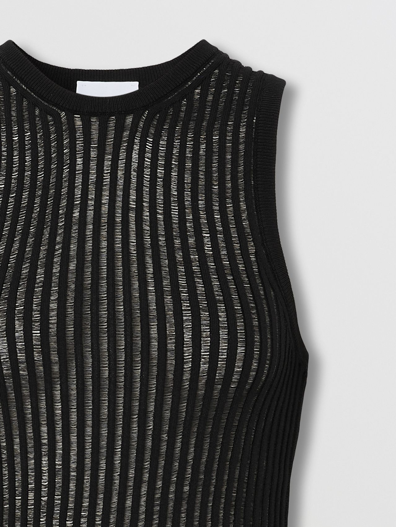 Rib Knit Technical Cotton Vest in Black