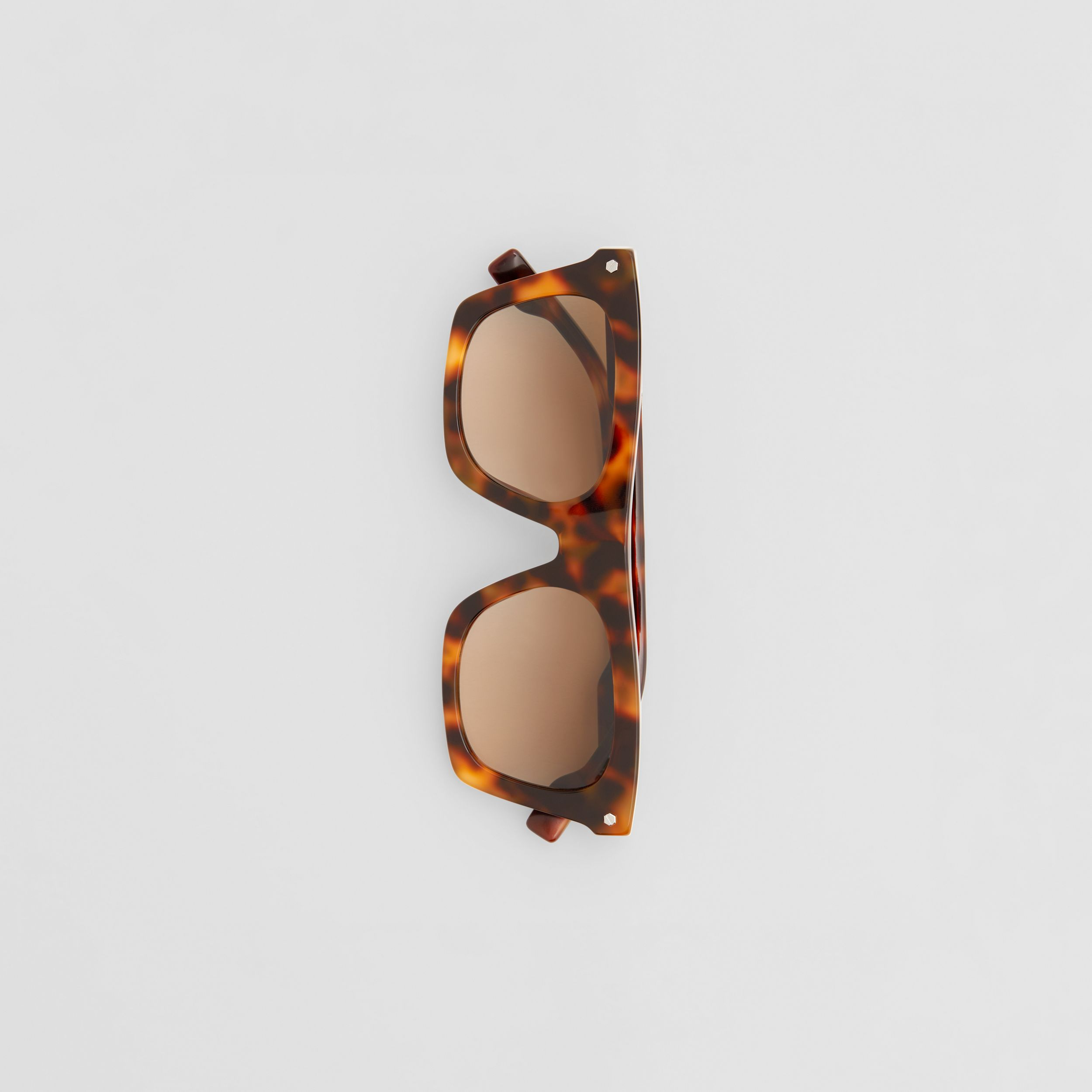 Icon Stripe Detail Rectangular Frame Sunglasses in Dark Tortoise Amber - Men | Burberry - 4