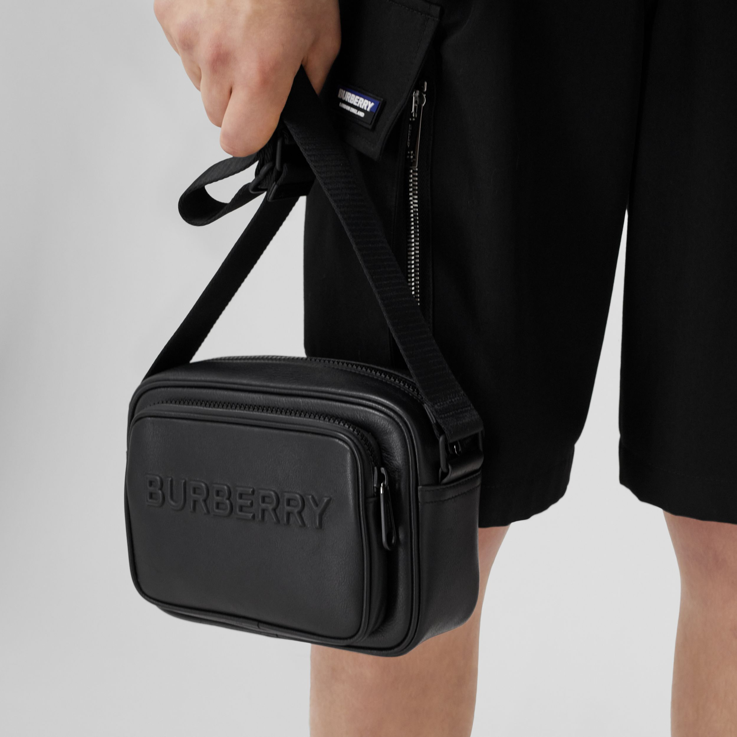 Debossed Logo Leather Crossbody Bag in Black - Men | Burberry - 3