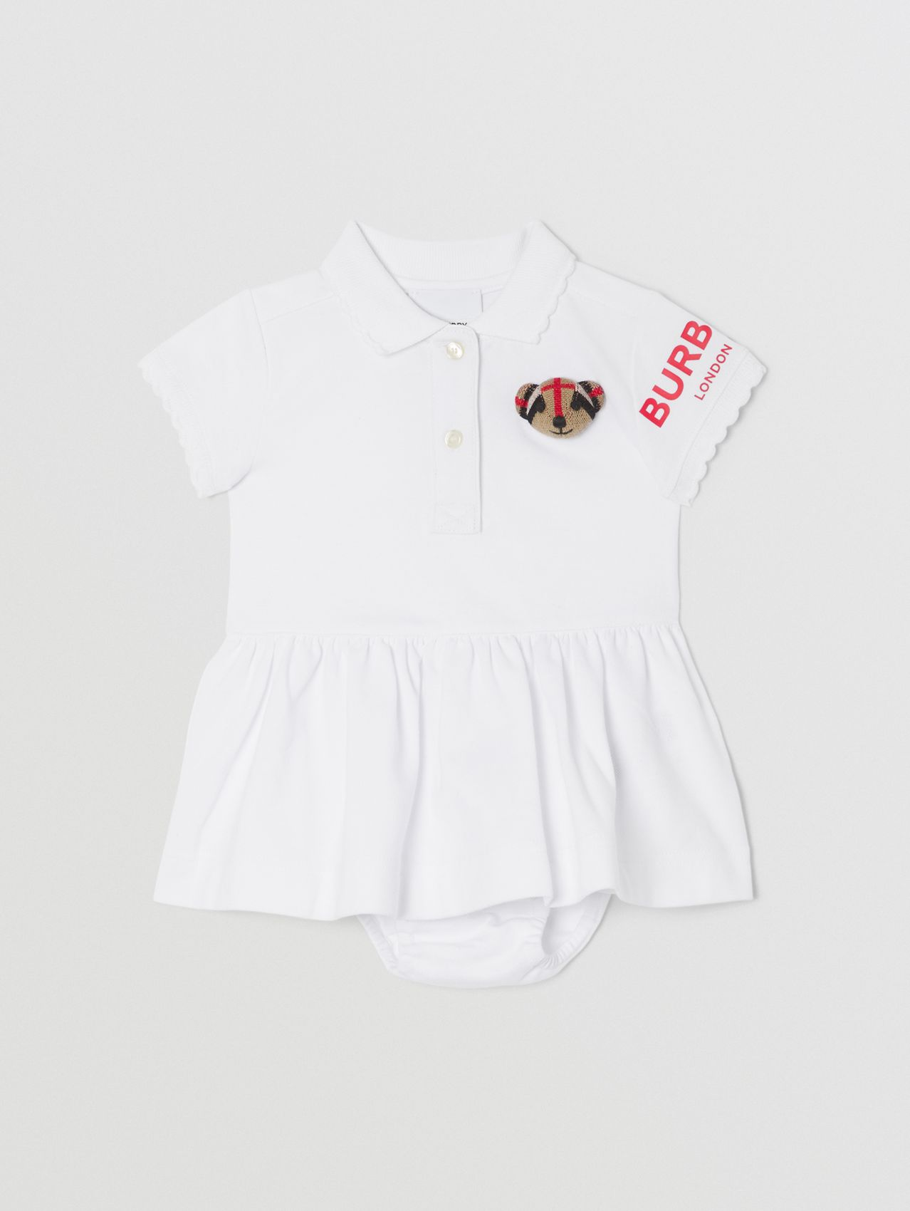 Thomas Bear Motif Cotton Polo Dress with Bloomers in White