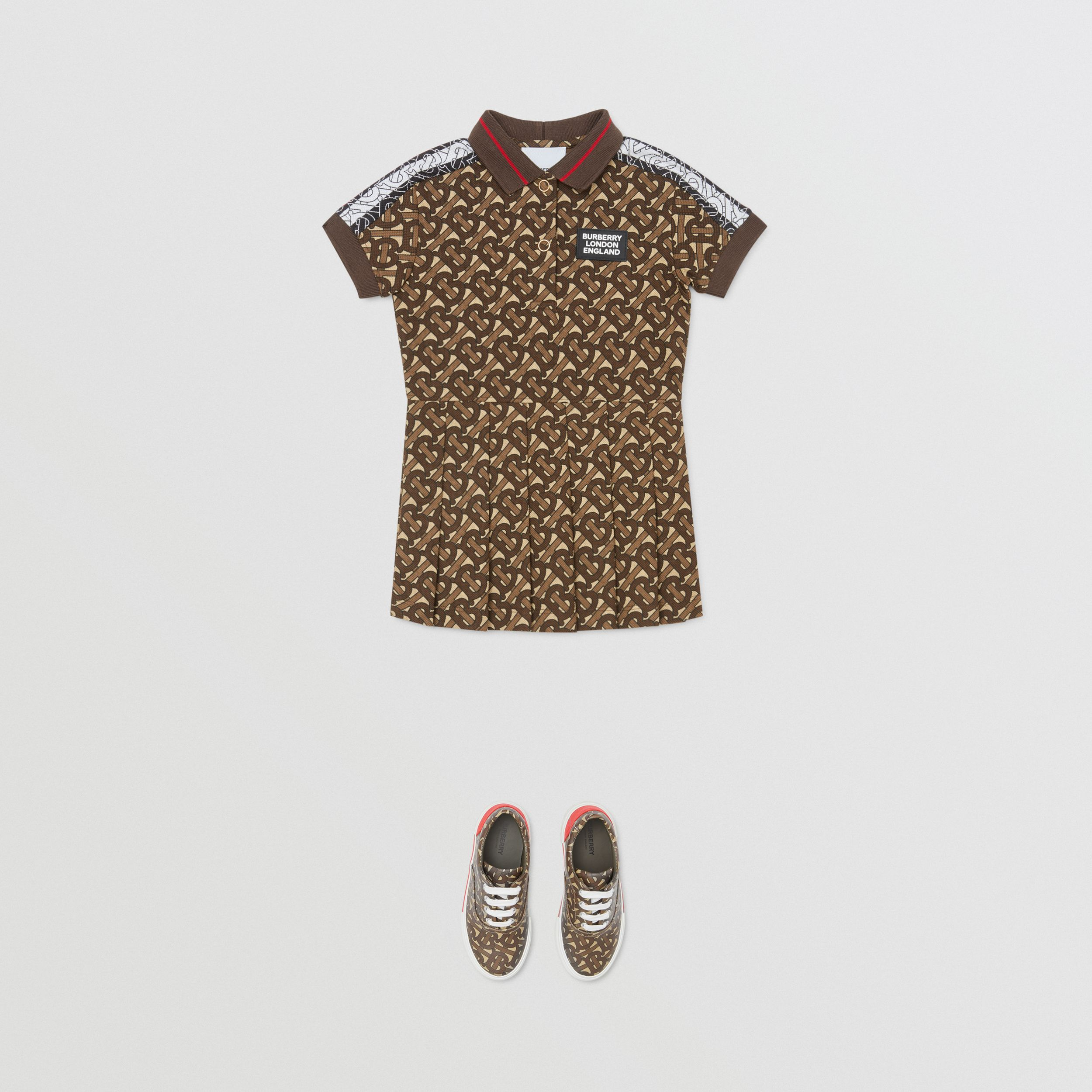 Monogram Stripe Print Cotton Polo Shirt Dress in Bridle Brown - Children | Burberry Canada - 3