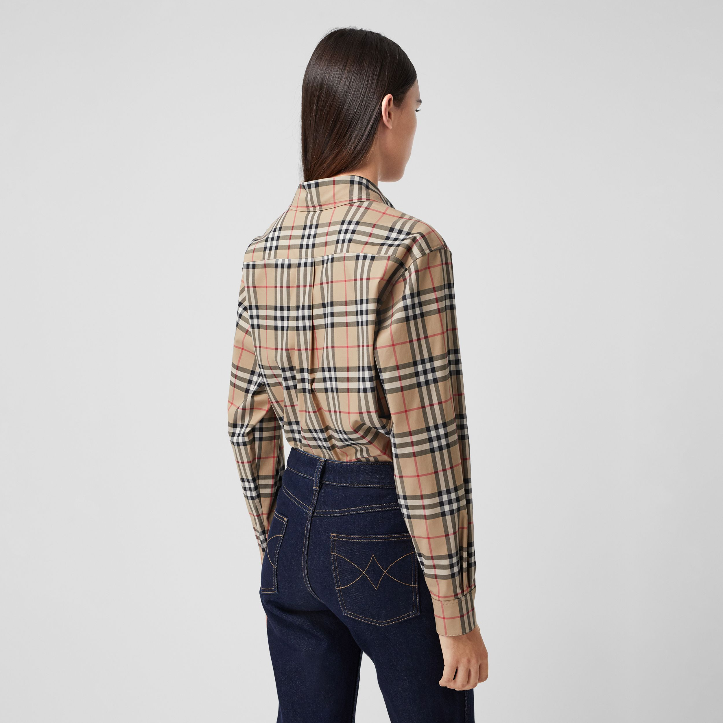 Zebra Appliqué Vintage Check Cotton Oversized Shirt - Women | Burberry - 3