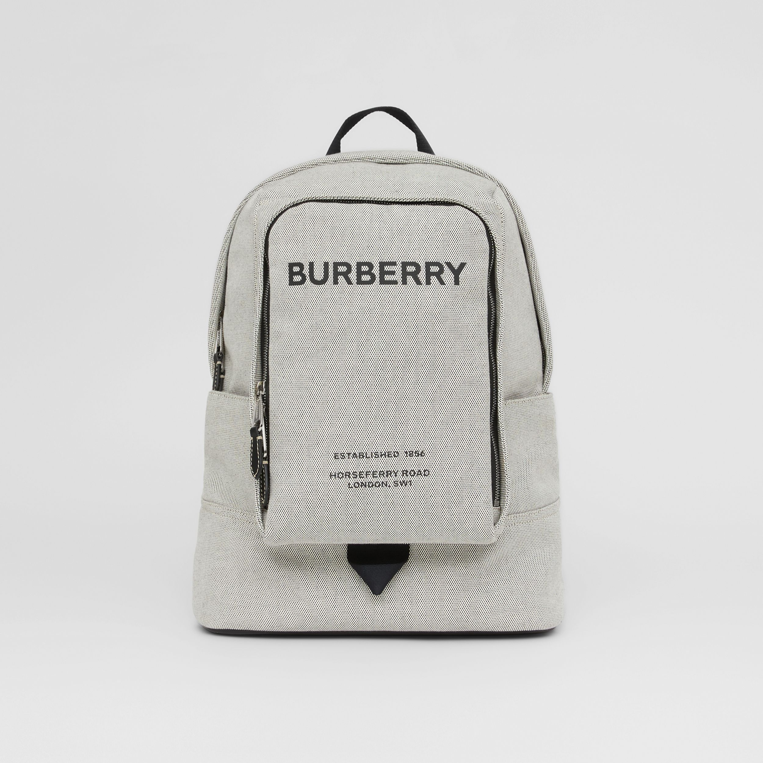 Large Logo Print Cotton Canvas Backpack in Black - Men | Burberry - 1