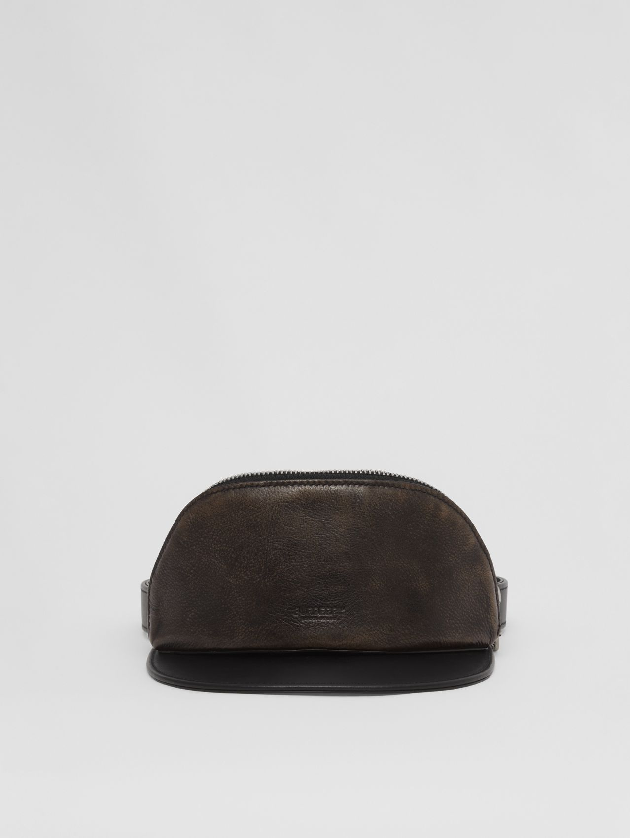 Leather Visor with Detachable Zip Pocket in Black