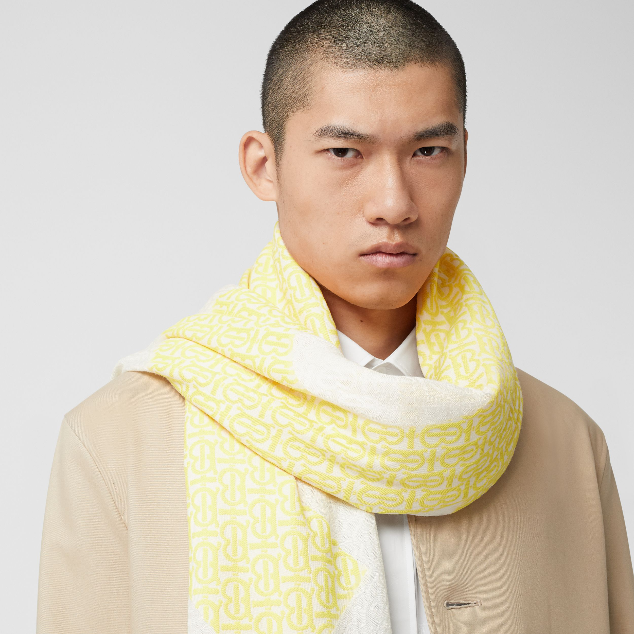 Monogram Fil Coupé Silk Blend Large Square Scarf in Yellow | Burberry - 4
