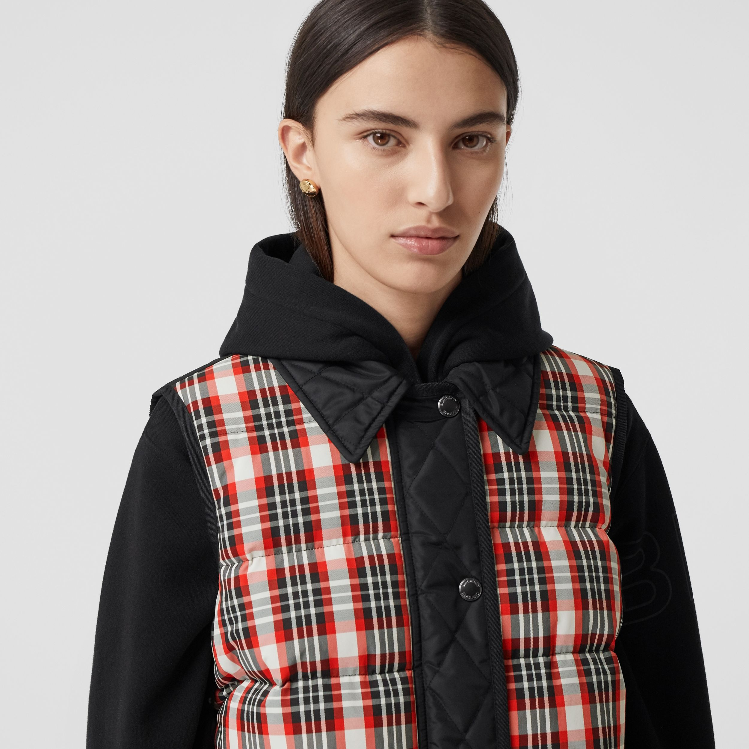 Diamond Quilted Panel Tartan Puffer Gilet in Bright Red - Women | Burberry - 2