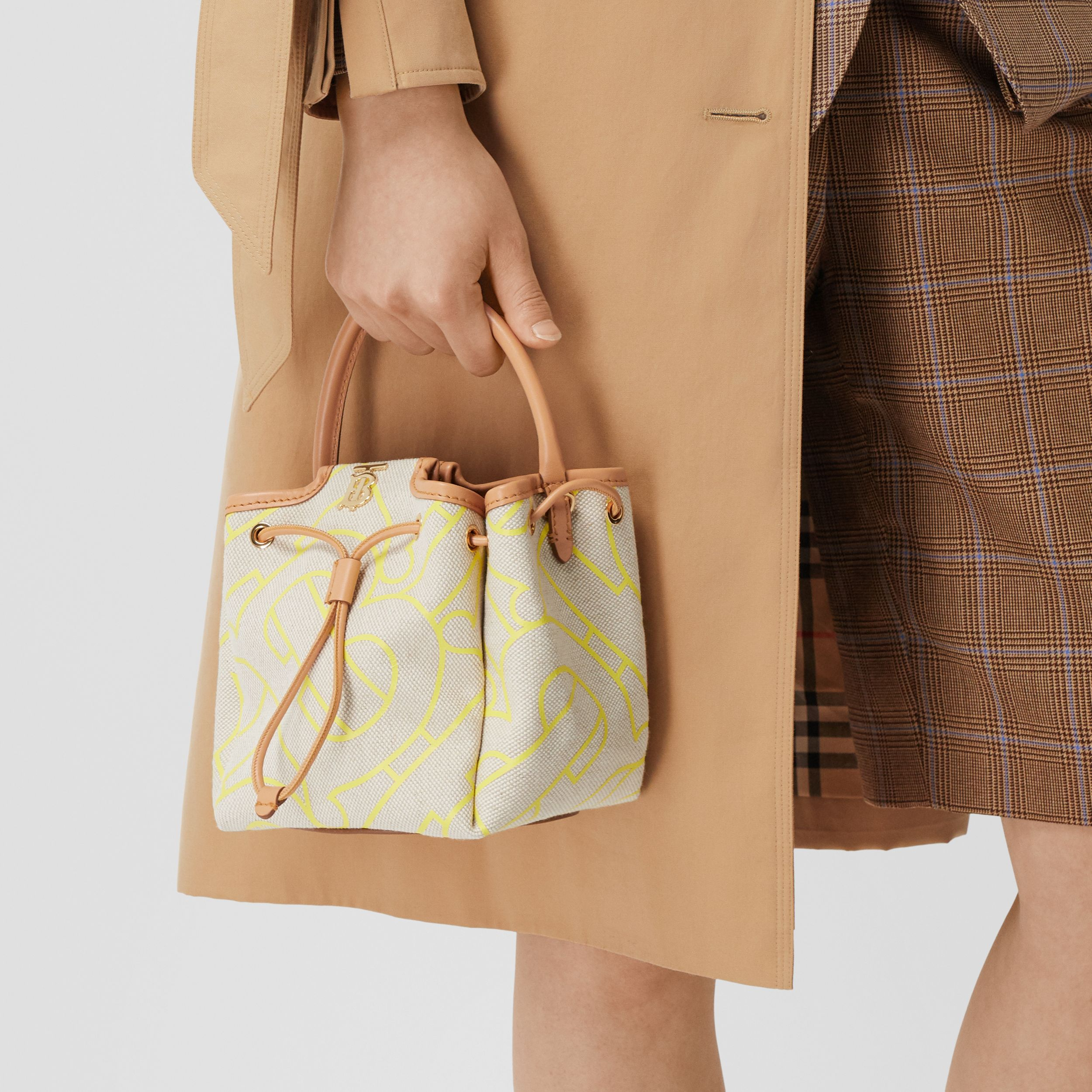 Monogram Motif Canvas and Leather Bucket Bag in Natural/yellow - Women | Burberry - 3