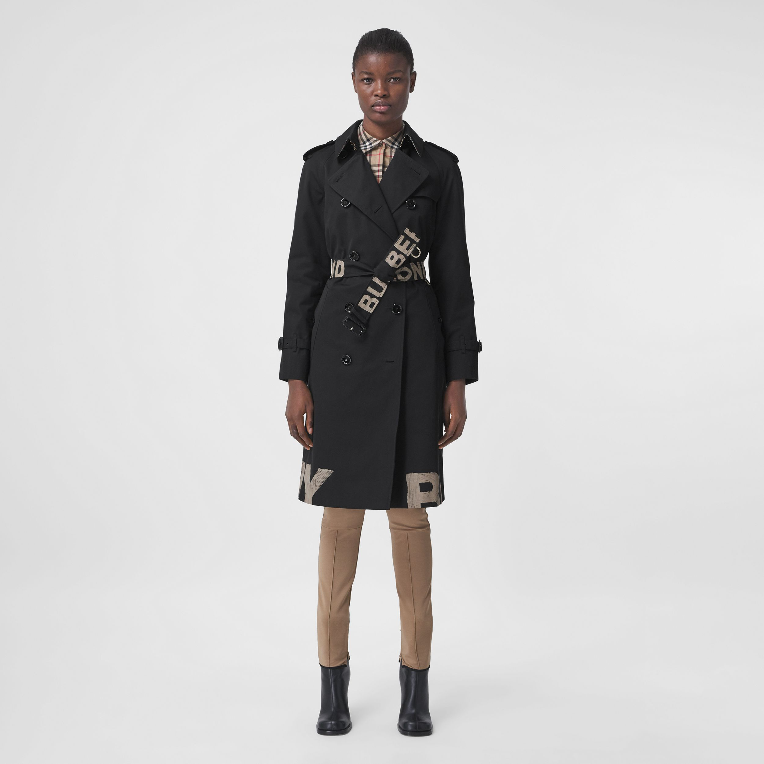 Logo Print Cotton Gabardine Trench Coat in Black - Women | Burberry United Kingdom - 1