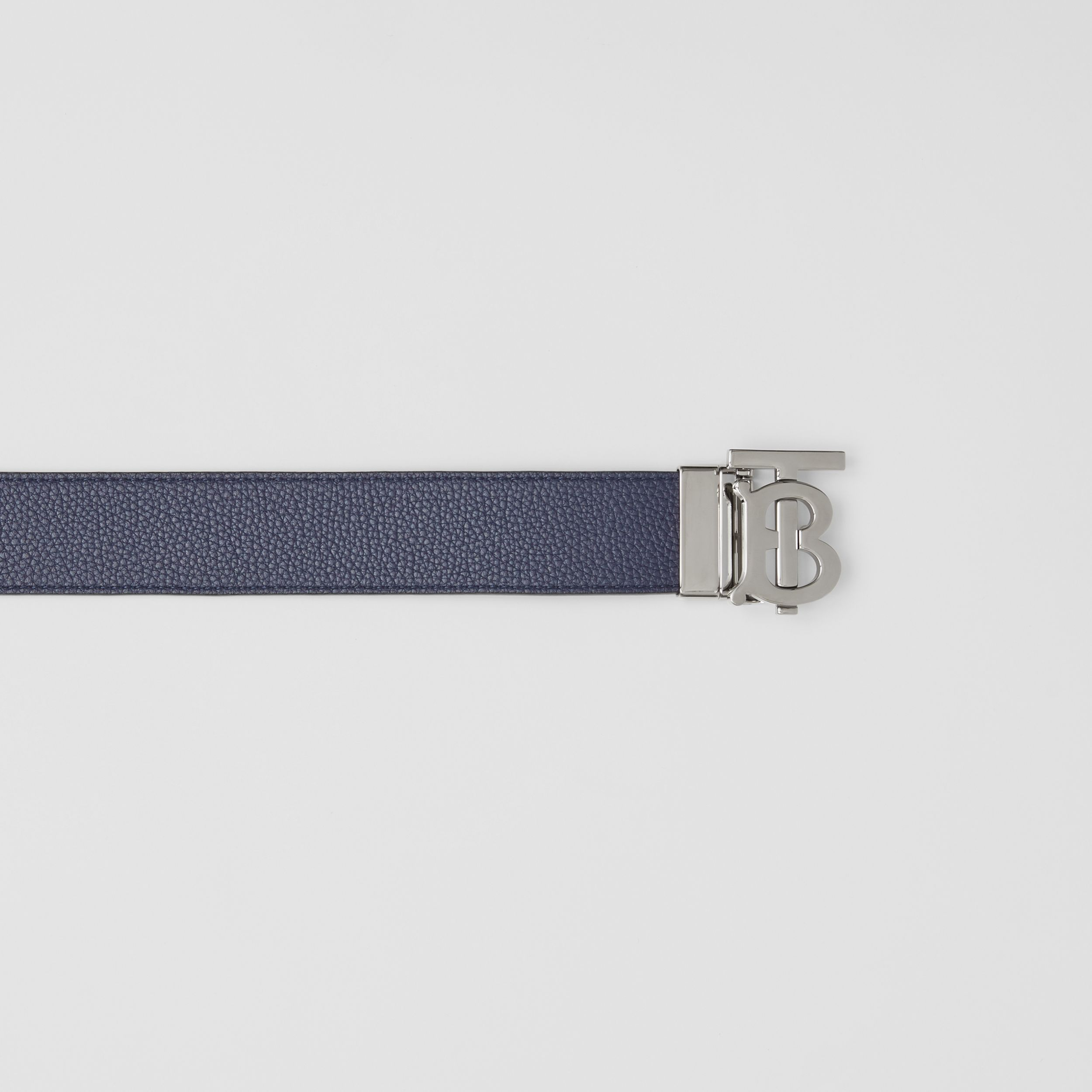 Reversible Monogram Motif Leather Belt in Navy/black - Men | Burberry Australia - 2