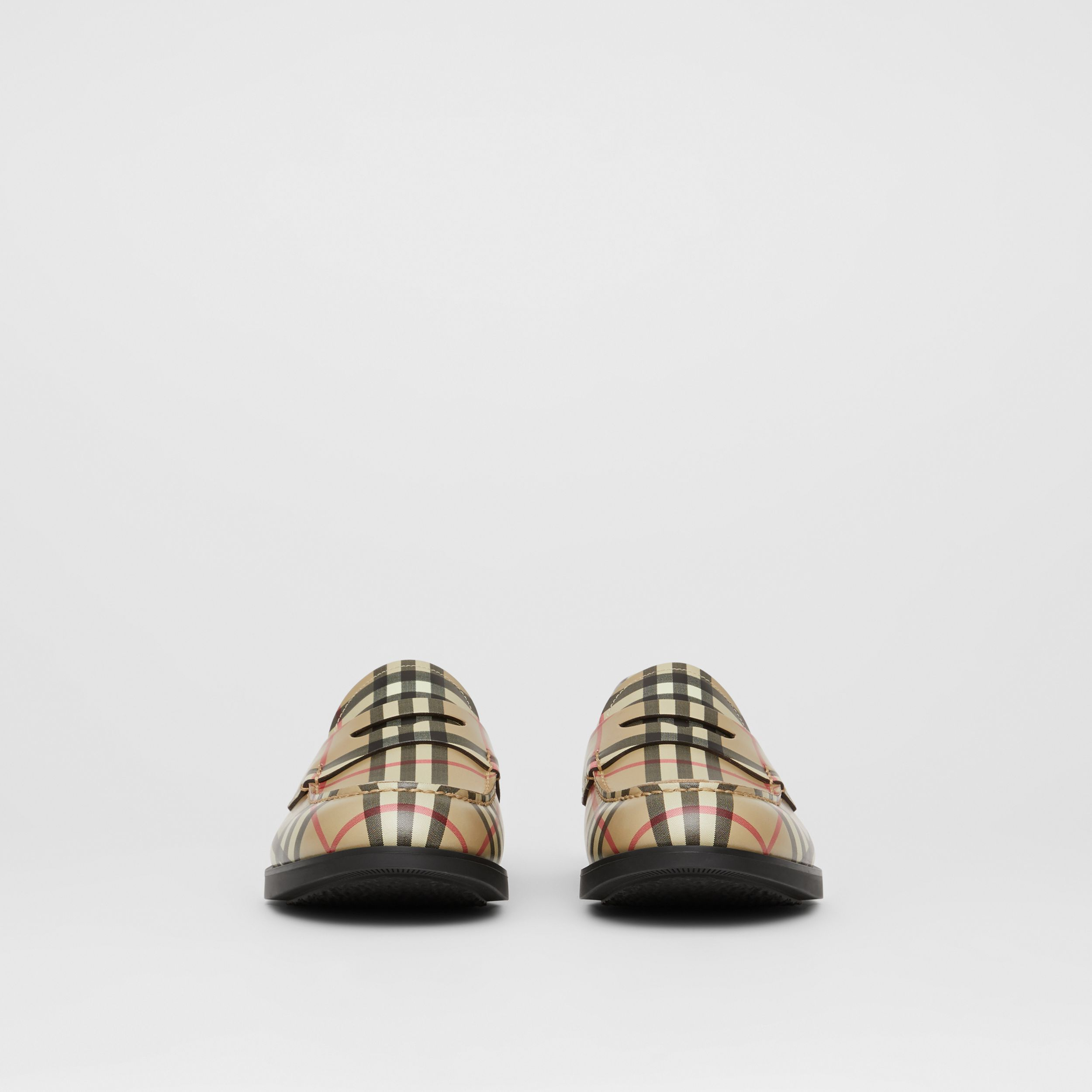 D-ring Detail Vintage Check Leather Loafers in Archive Beige - Men | Burberry - 3