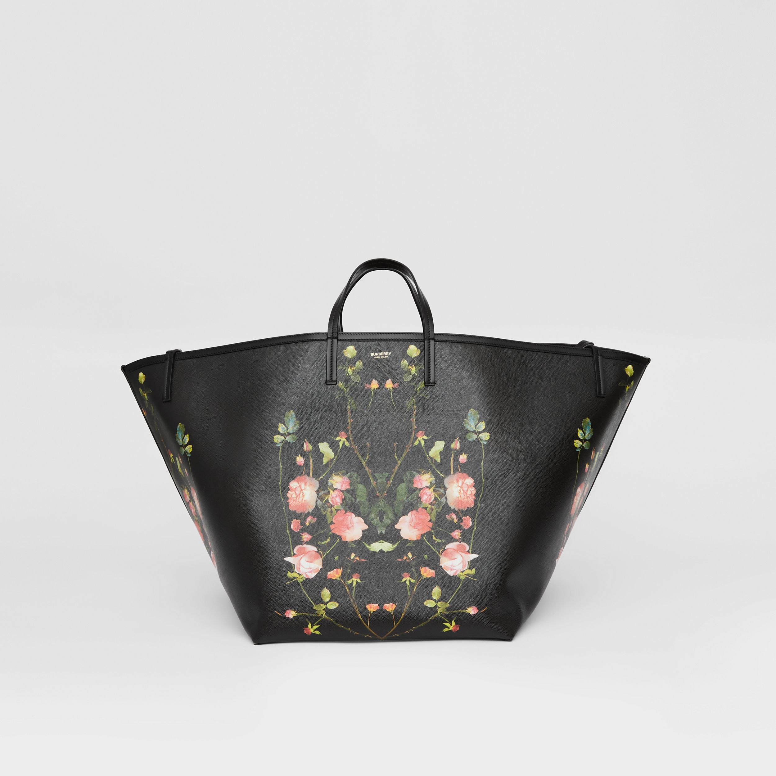 Extra Large Rose Print E-canvas Beach Tote in Black - Women | Burberry Hong Kong S.A.R. - 1
