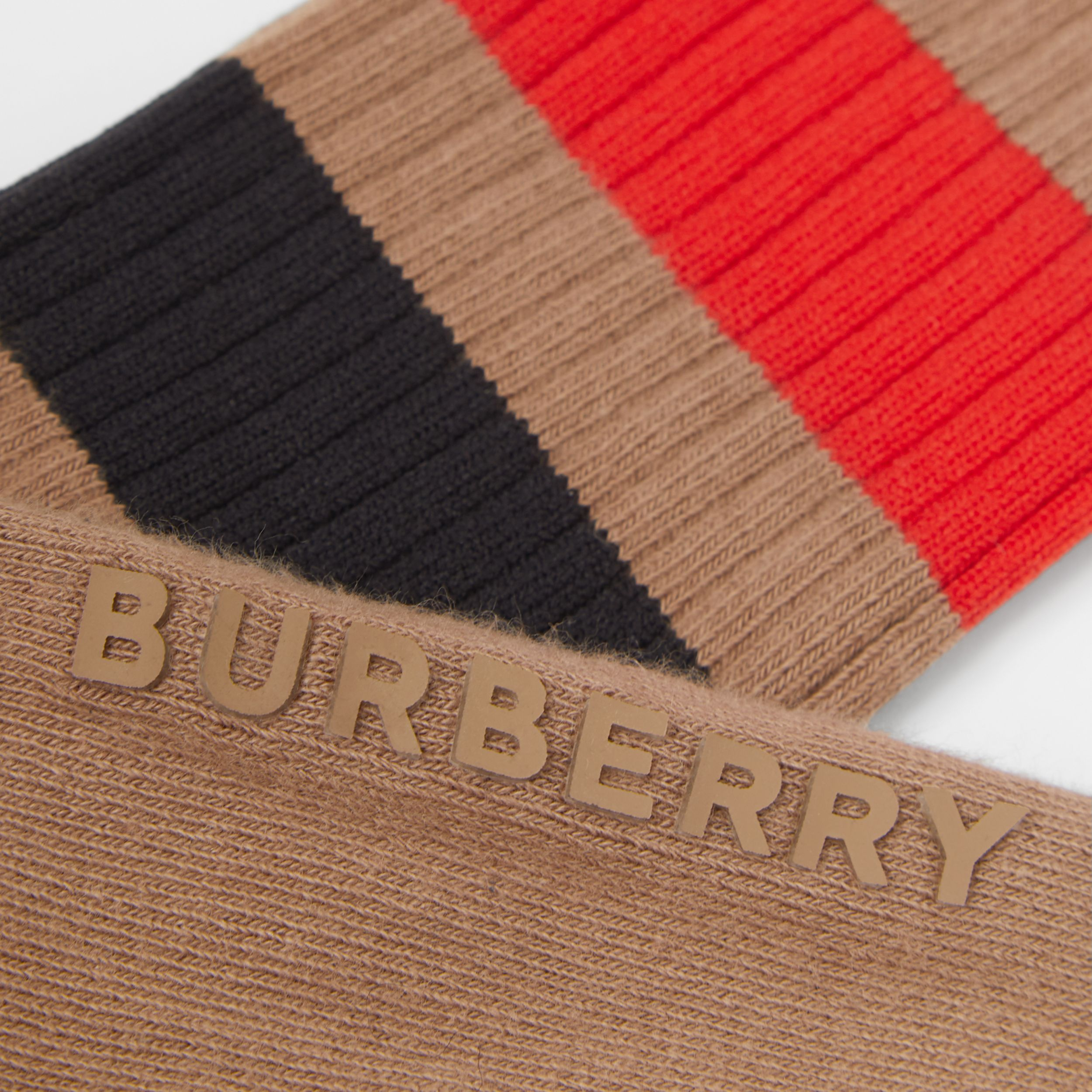 Striped Cotton Blend Socks in Warm Camel | Burberry - 3