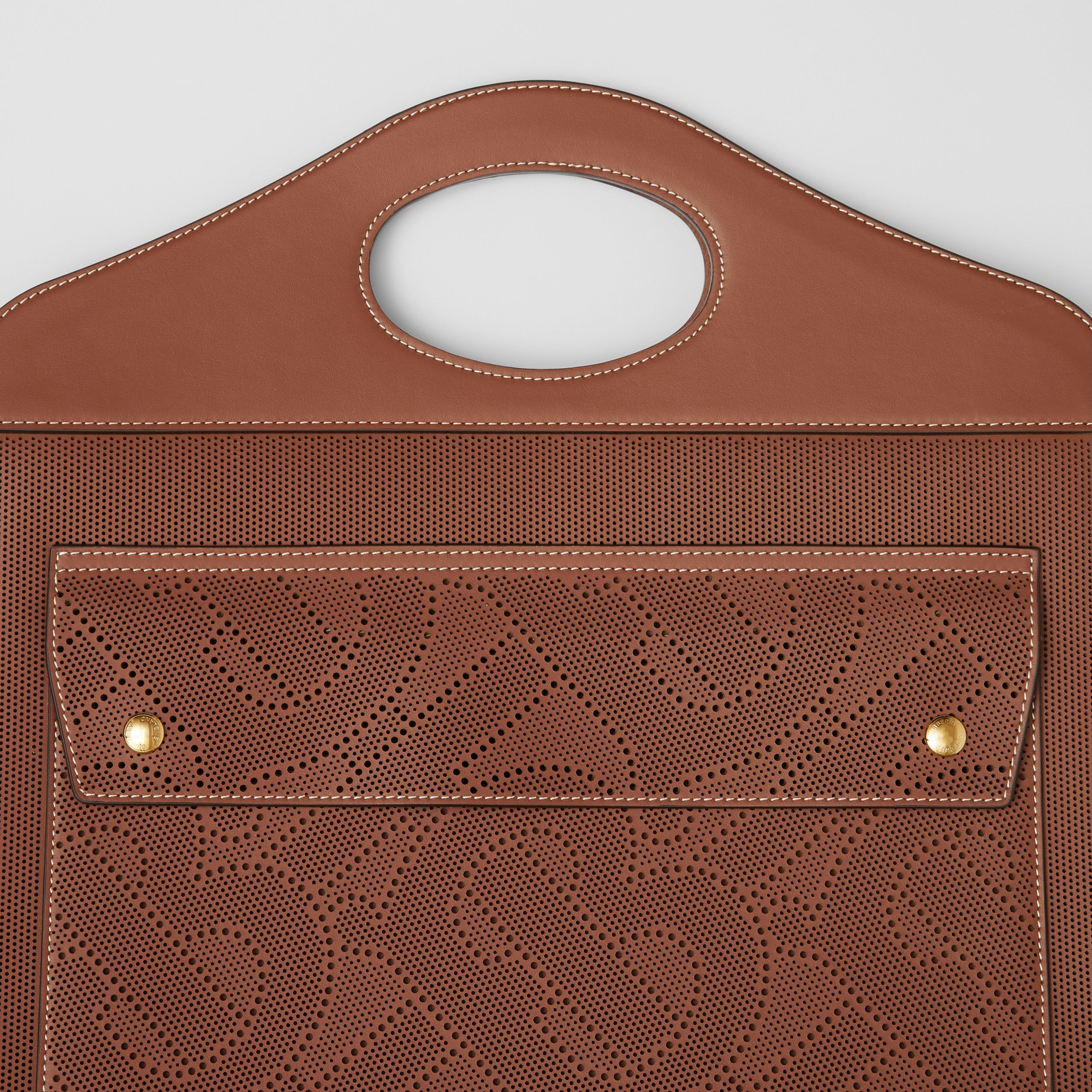Medium Perforated Monogram Leather Pocket Bag in Tan - Women | Burberry - 2