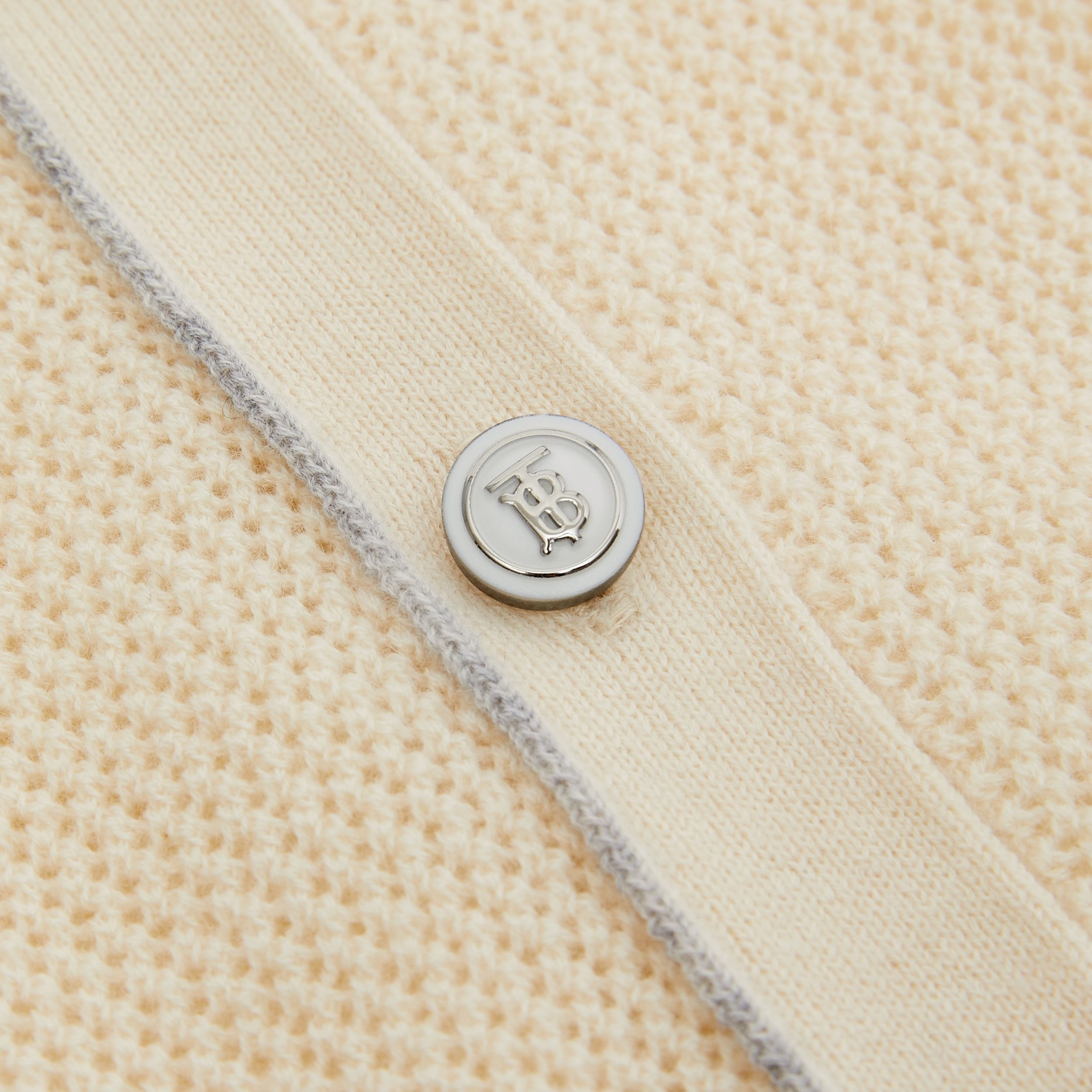 Monogram Motif Knitted Cashmere Cardigan in Ivory | Burberry - 2