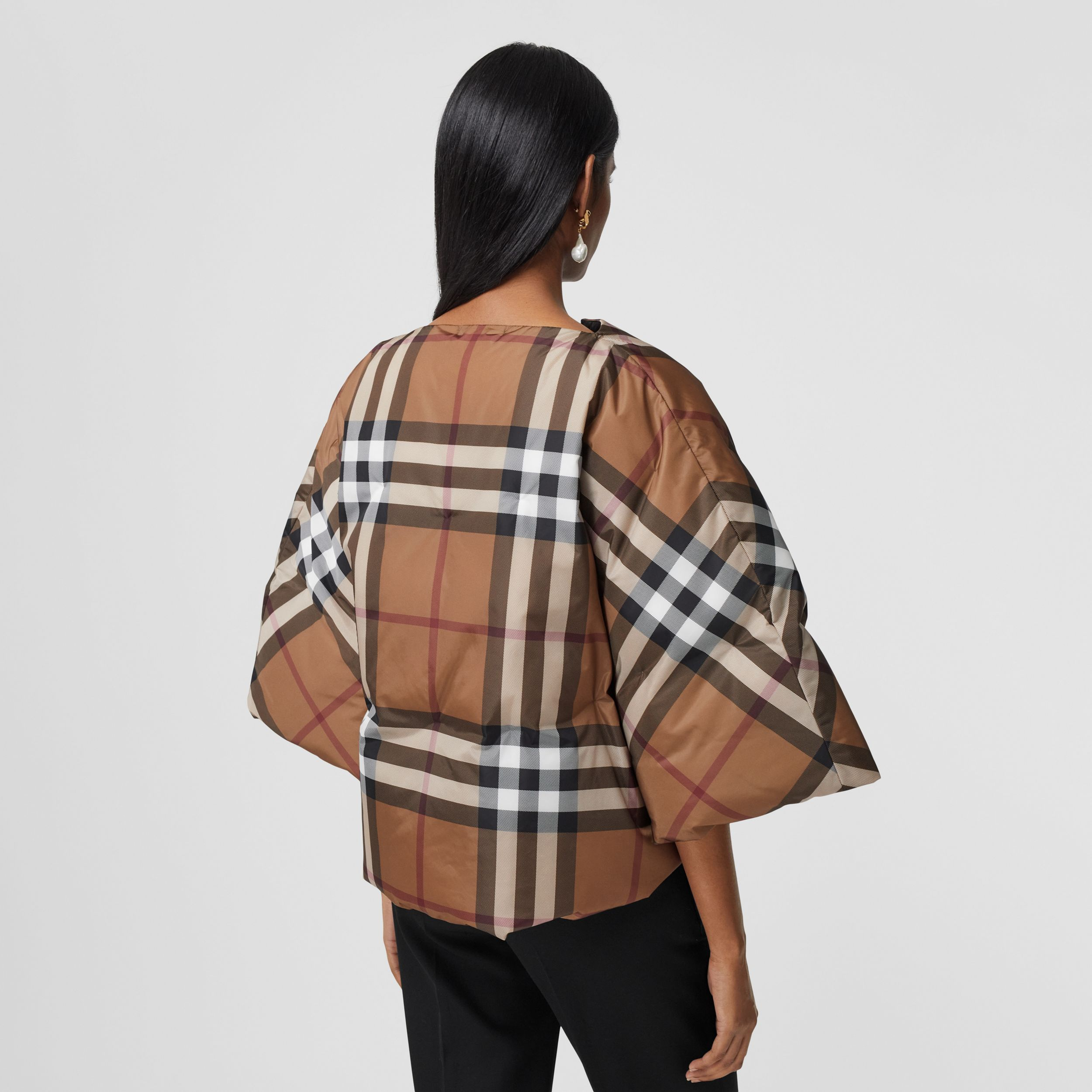 Check Print ECONYL® Cape in Birch Brown - Women | Burberry - 3
