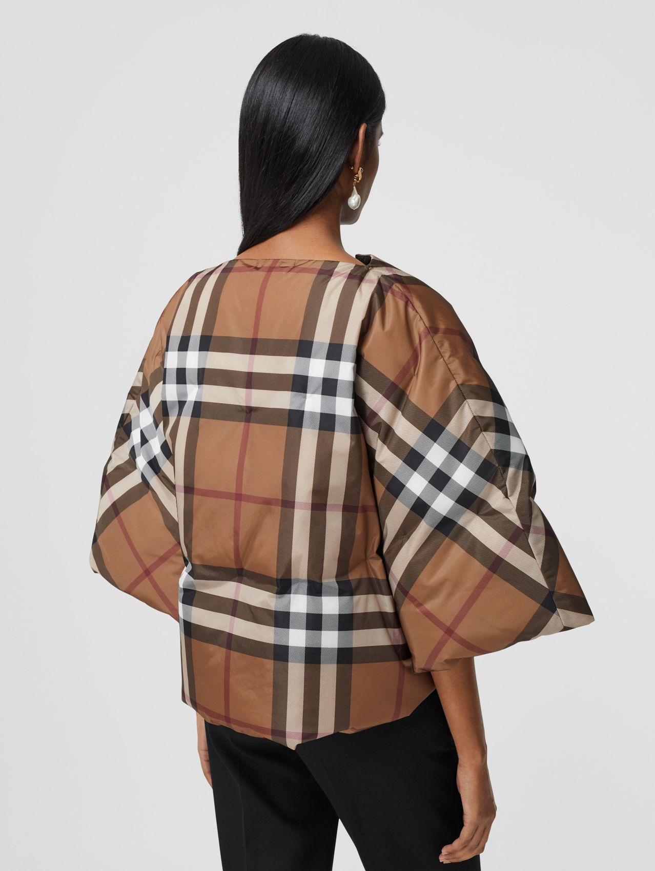 Check Print ECONYL® Cape in Birch Brown
