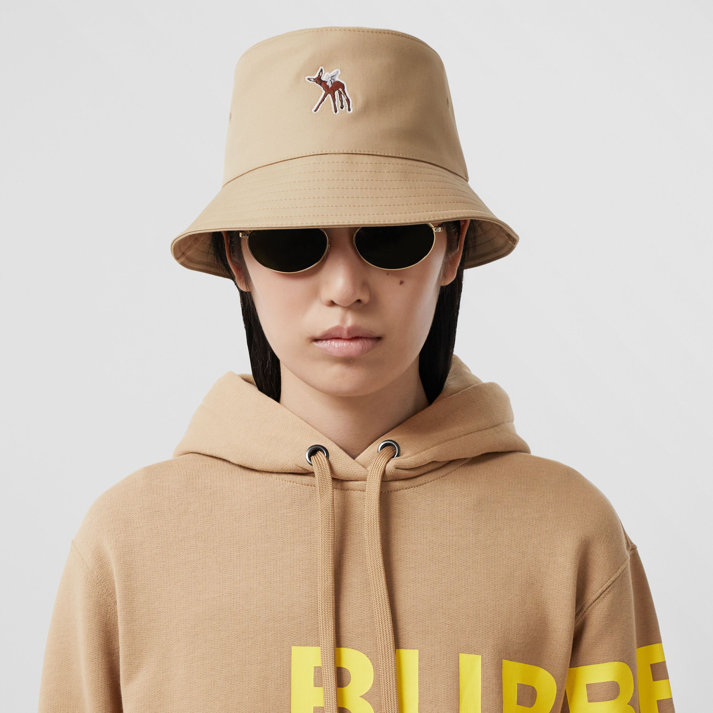 Deer Motif Cotton Bucket Hat in Honey | Burberry Canada - 3