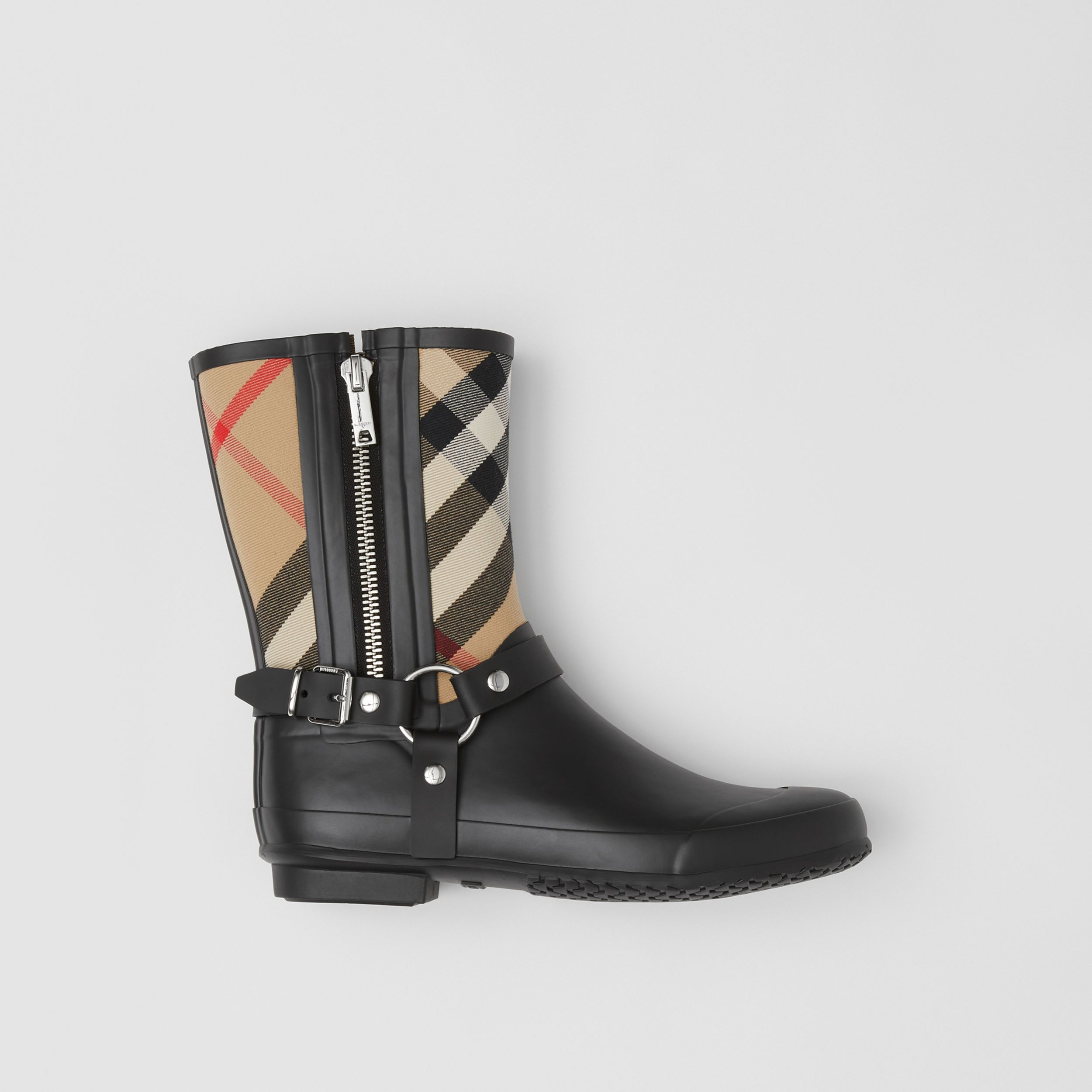 Strap Detail House Check Rubber Rain Boots in Black/archive Beige - Women | Burberry - 1