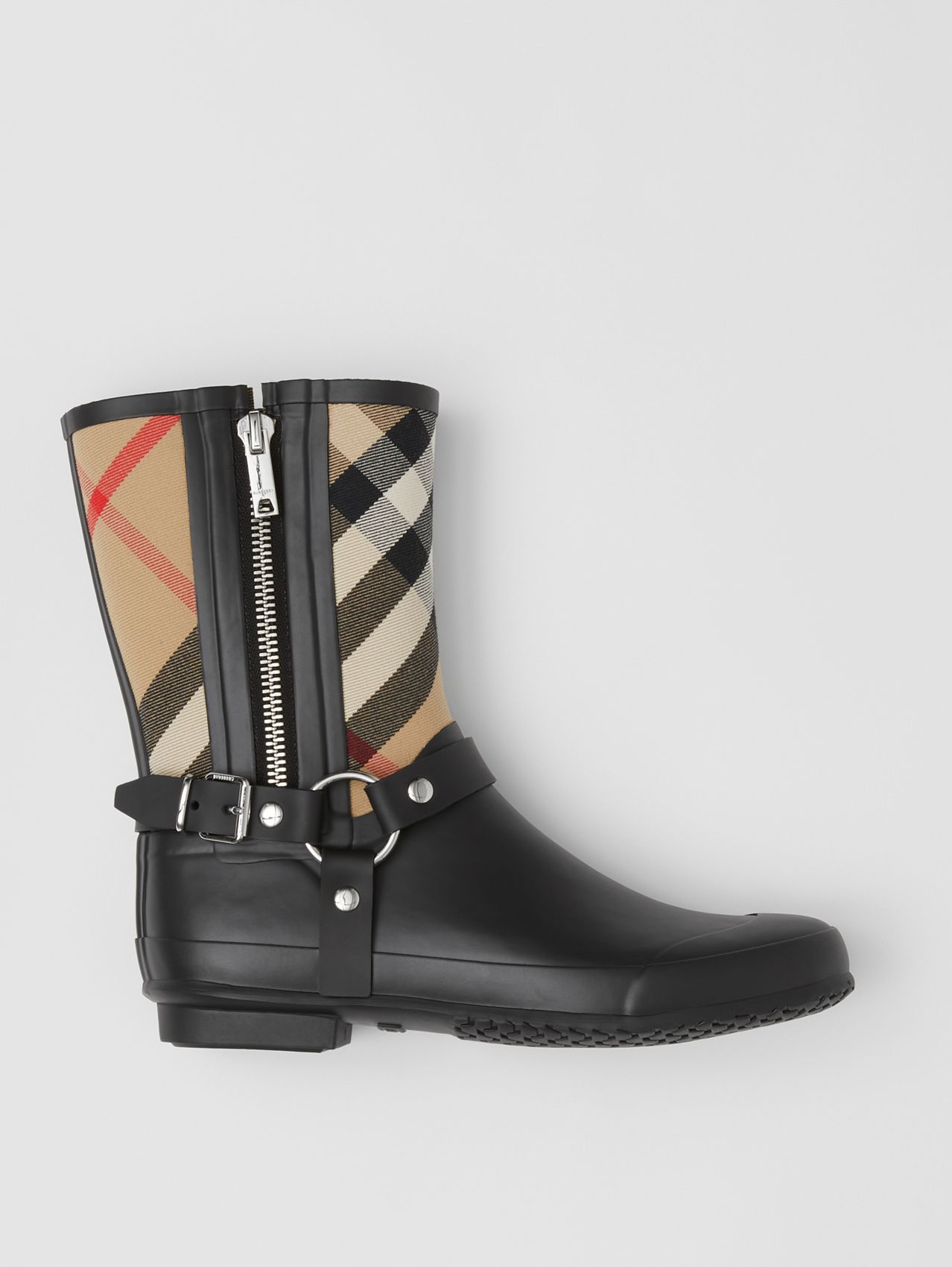 Strap Detail House Check Rubber Rain Boots in Black/archive Beige