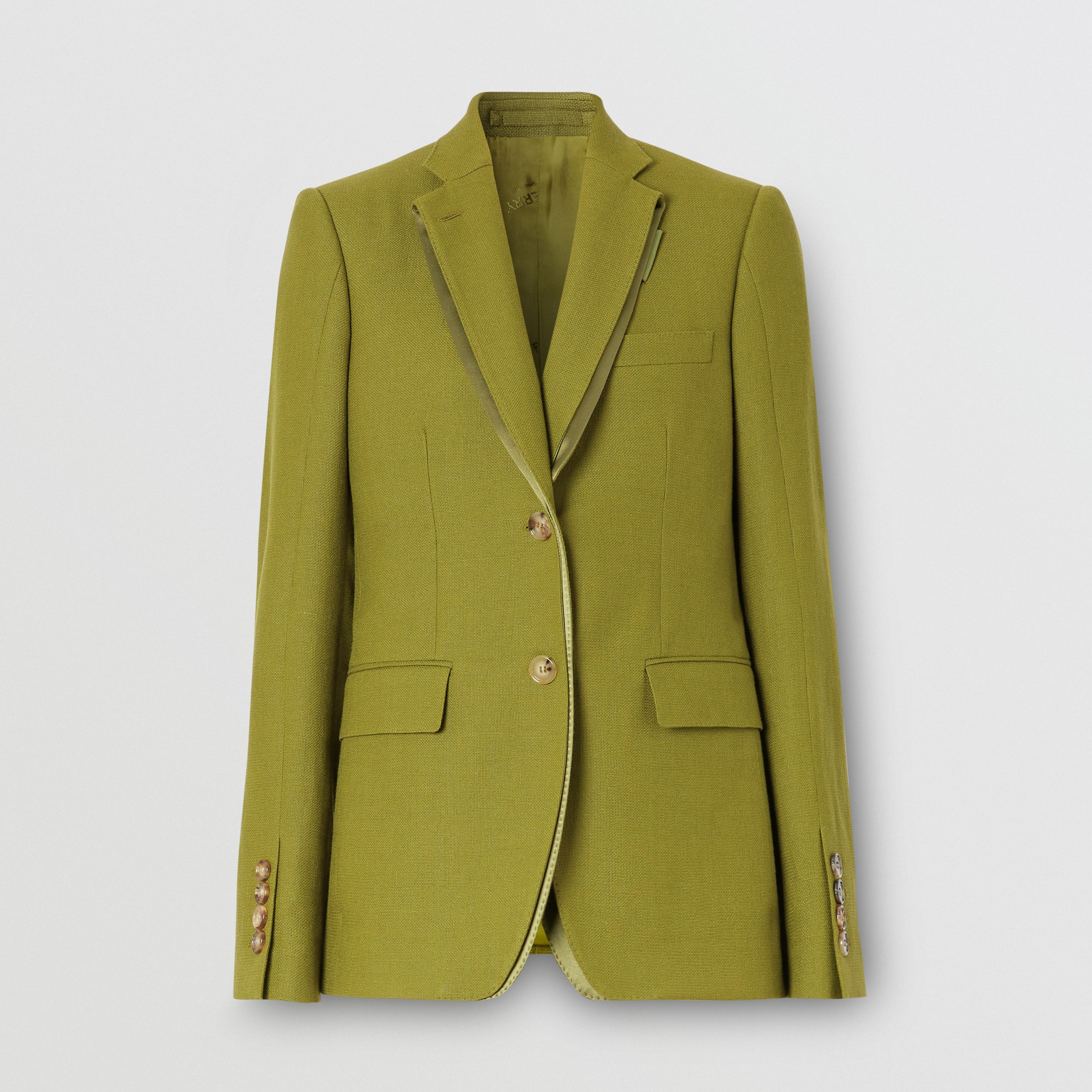 Wool Ramie and Silk Satin Tailored Jacket in Juniper Green - Women | Burberry Australia - 4