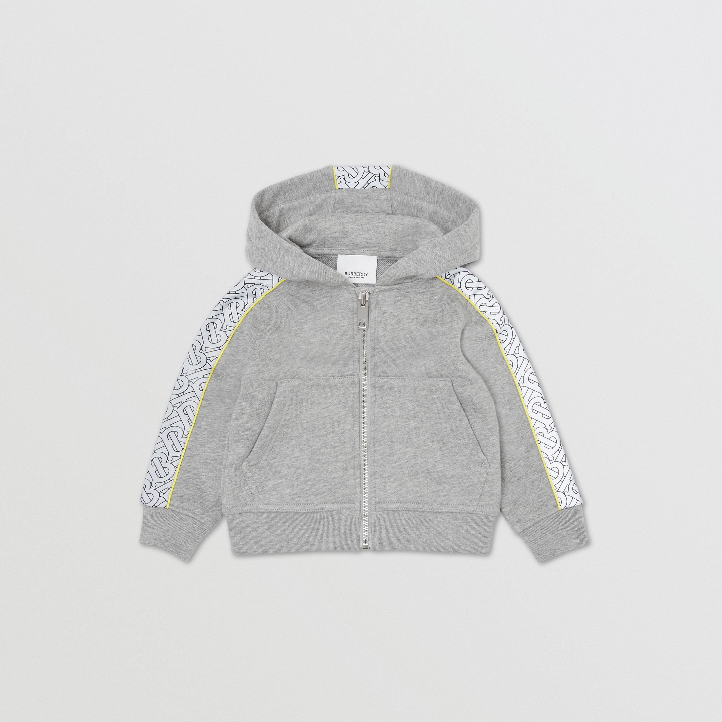Monogram Print Panel Cotton Hooded Top in Grey Melange - Children | Burberry - 1