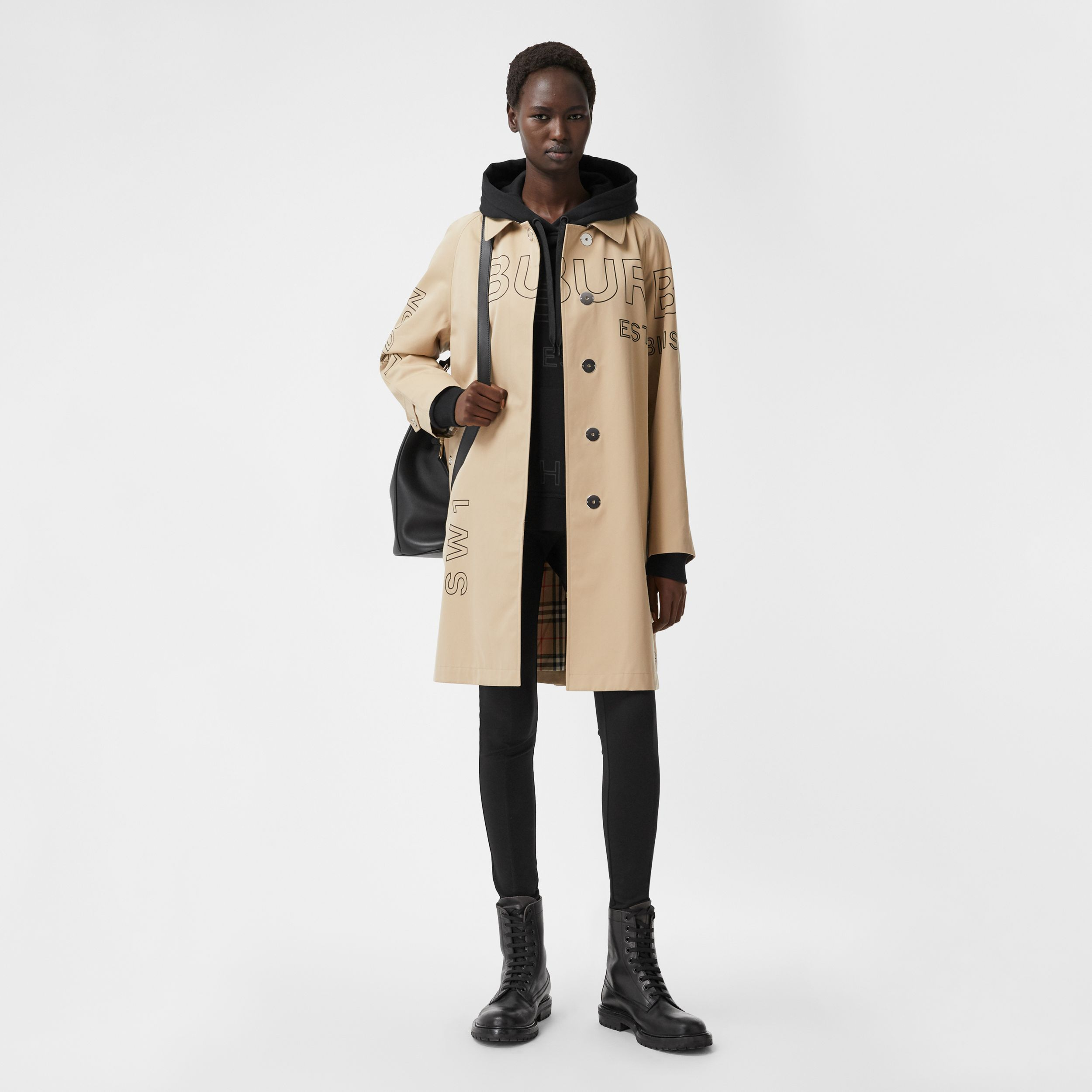 Horseferry Print Cotton Gabardine Car Coat in Honey - Women | Burberry United Kingdom - 1