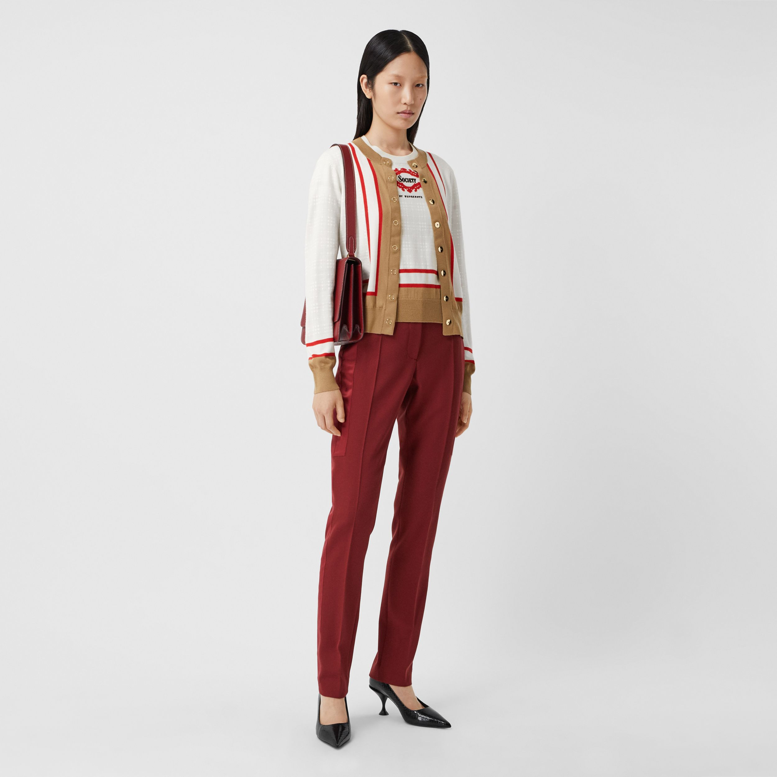 Archive Society Intarsia Wool Cardigan in White - Women | Burberry - 1